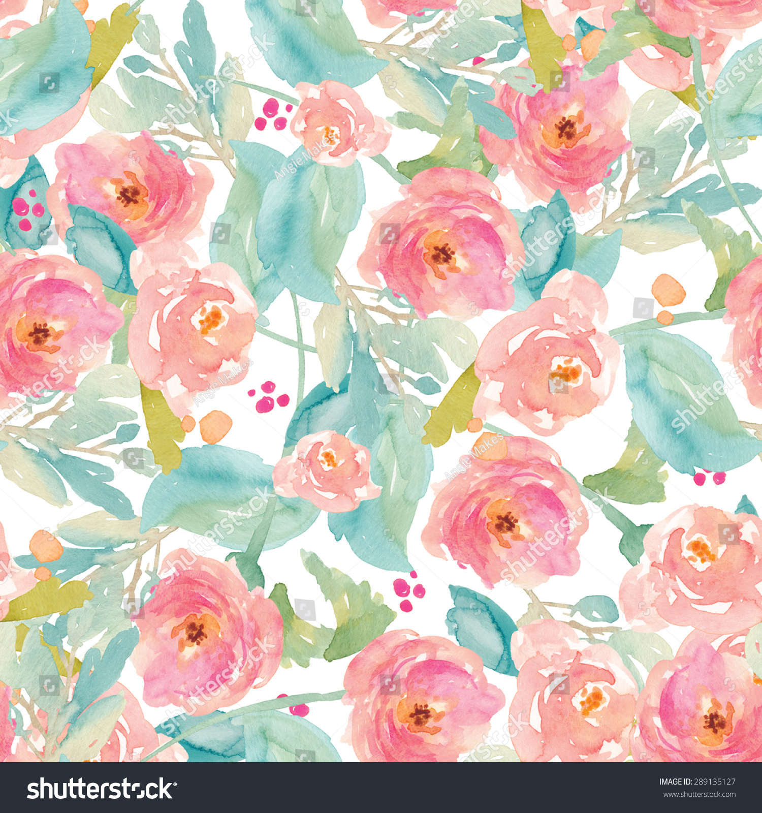 Amazing Tropical Modern Watercolor Flower Pattern Background.