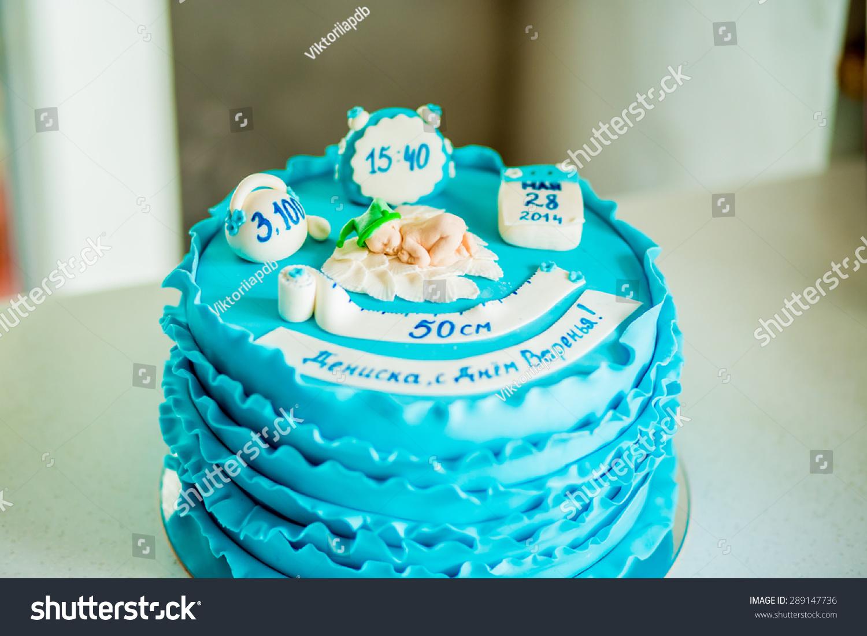 Birthday Cake Decorated Blue Fondant Flowers Stock Photo Edit Now