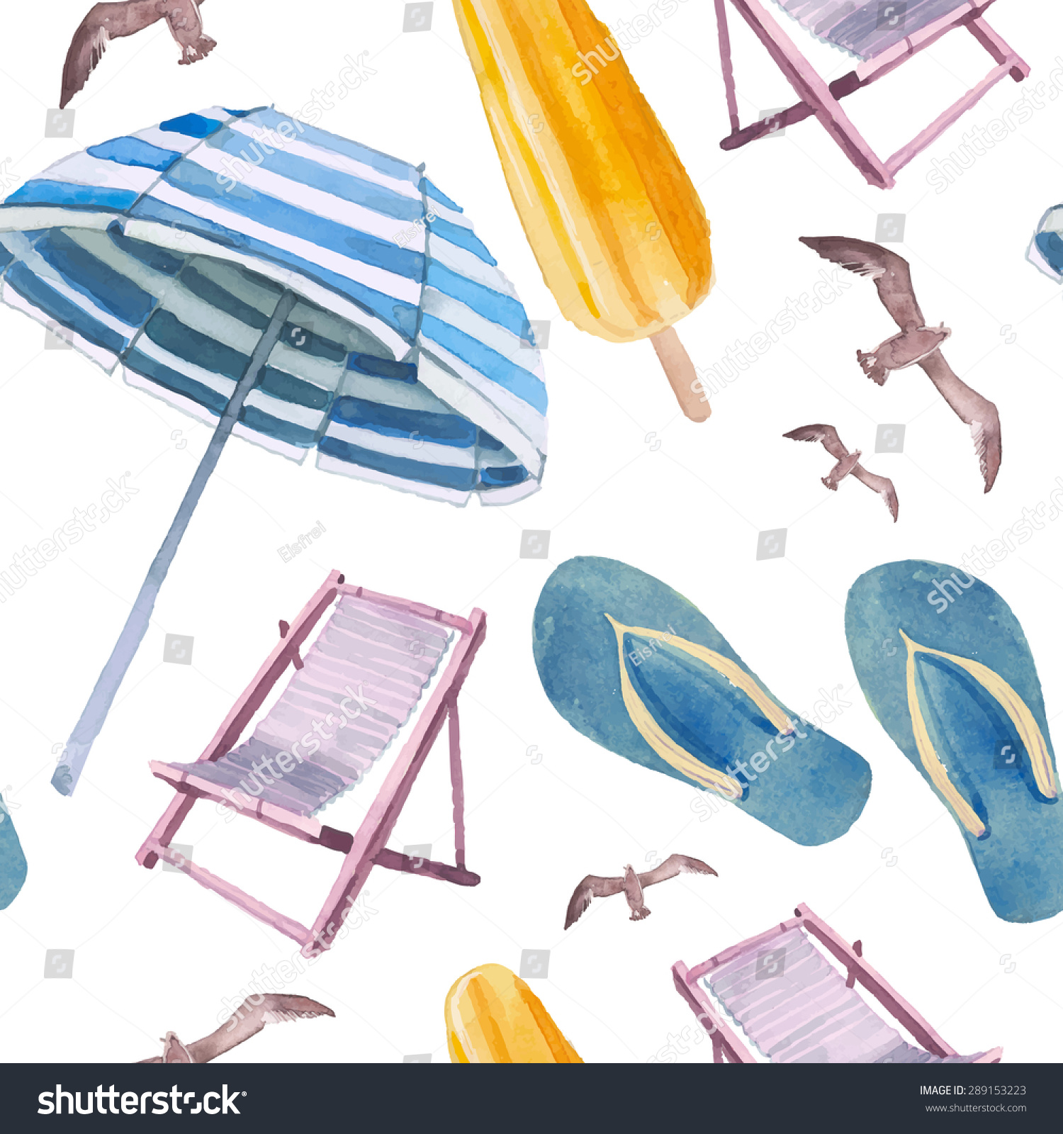 Seamless Pattern With Hand Drawn Watercolor Ice Cream: Watercolor Beach Vacation Seamless Pattern Hand Stock