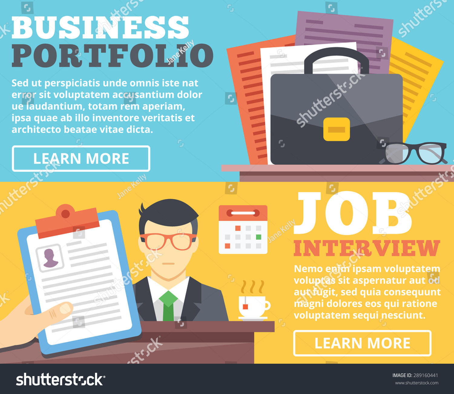 business portfolio job interview flat illustration stock vector business portfolio job interview flat illustration concepts set flat design concepts for web banners