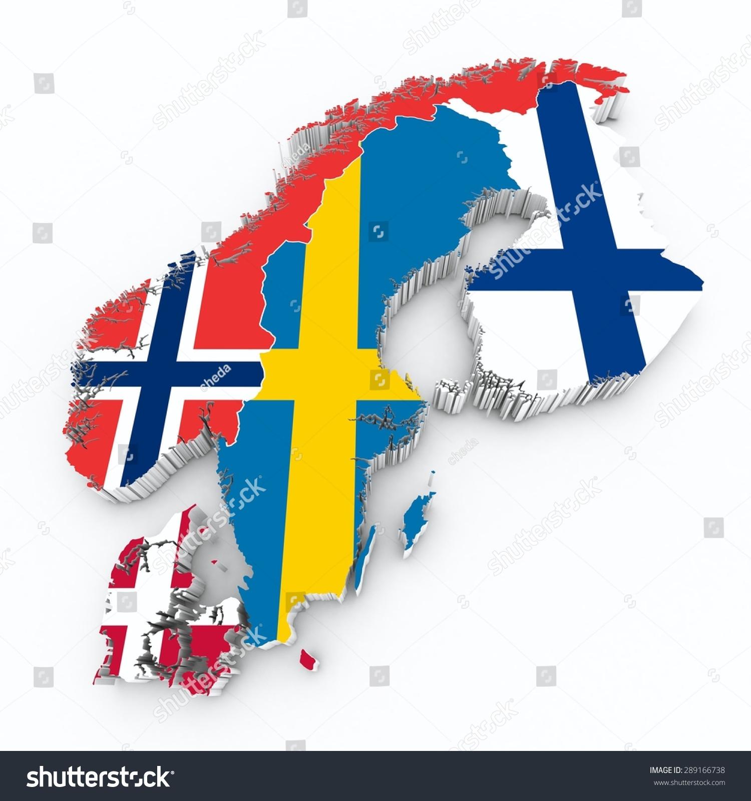 Scandinavian Flags On 3d Map