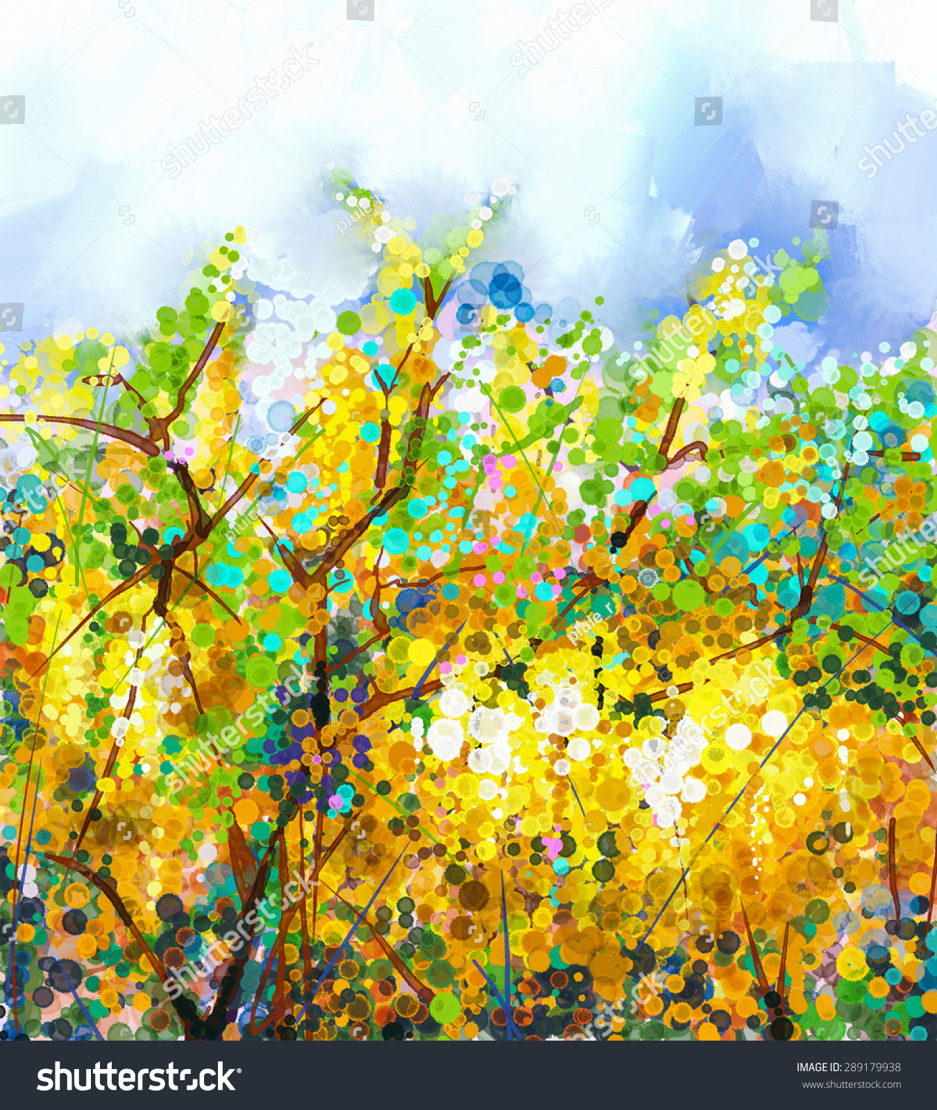 Abstract Flowers Watercolor Mix Oil Color Stock Illustration