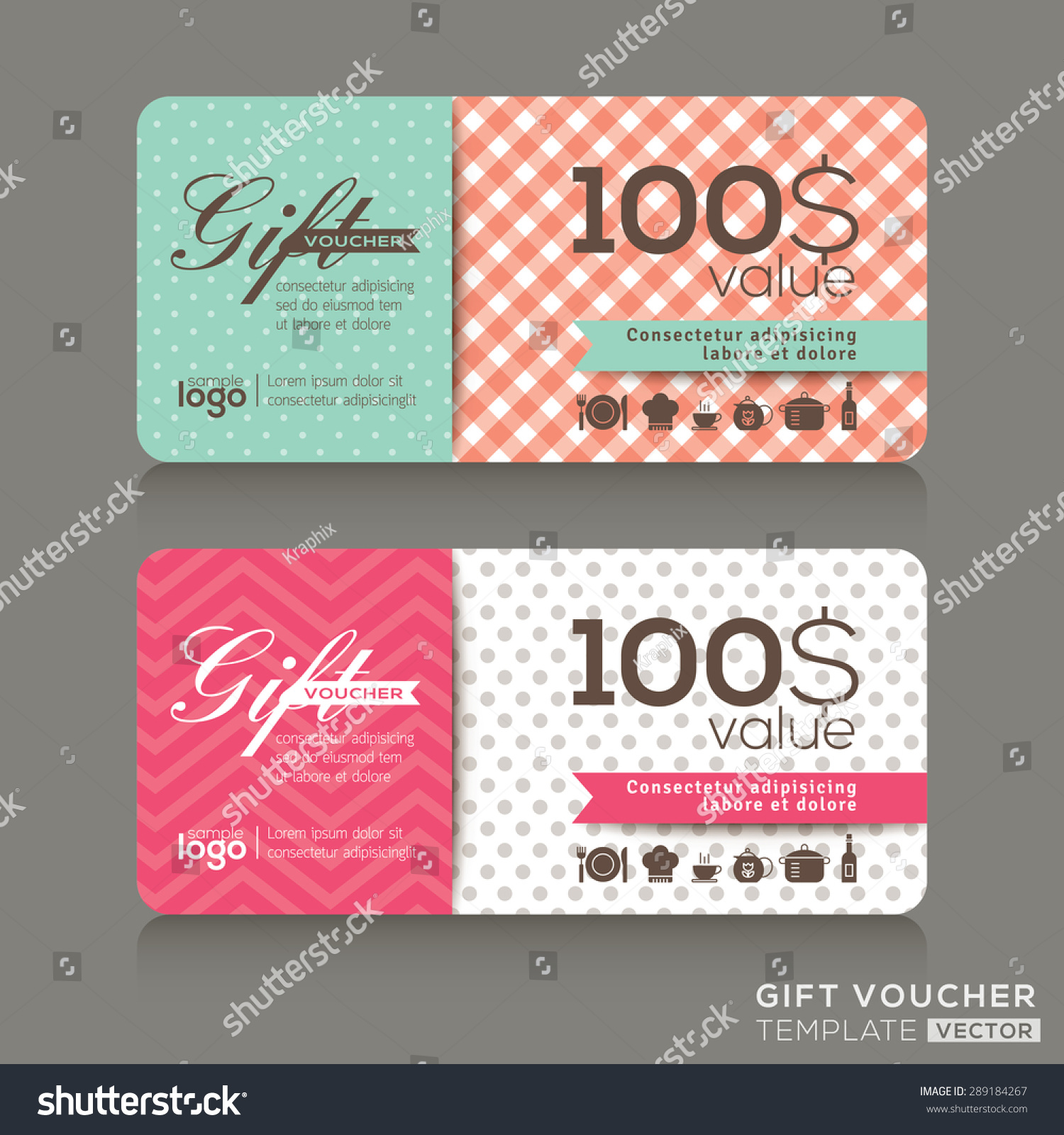 cute gift voucher certificate coupon design template stock vector 289184267 shutterstock. Black Bedroom Furniture Sets. Home Design Ideas