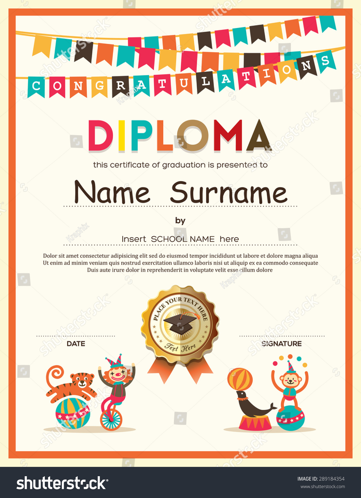 Royalty free preschool elementary school kids 289184354 stock preschool elementary school kids diploma certificate template with bunting flags background design 289184354 yadclub Image collections