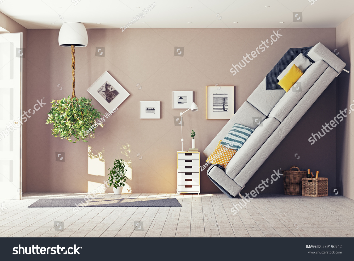 Strange living room interior 3d design stock illustration for Apartment design concept