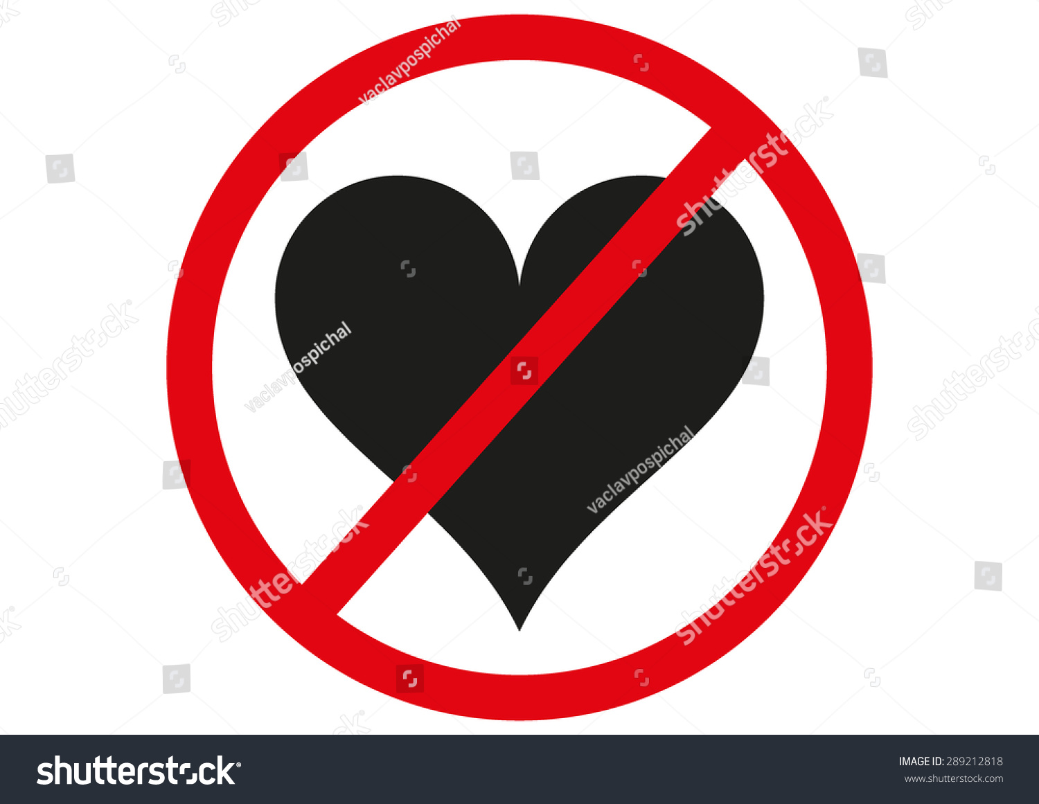 No Love Forbidden Sign Symbol On Stock Vector Royalty Free