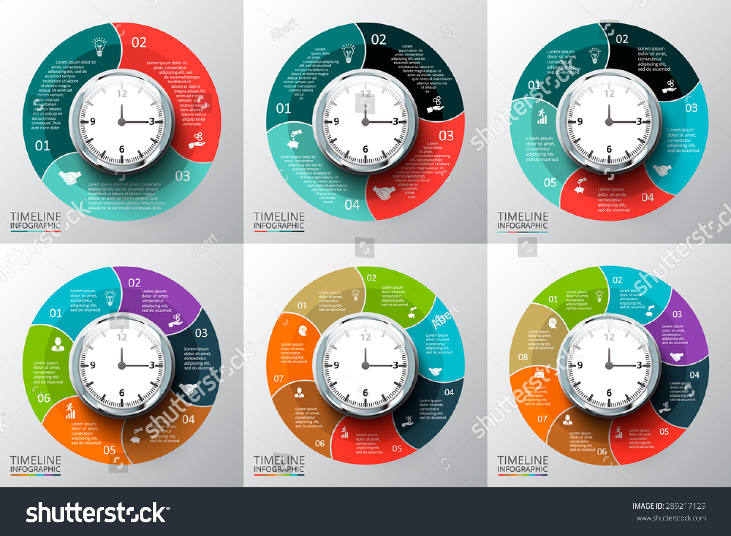 Vector Circles Elements Set Watch Timeline Stock Vector Royalty