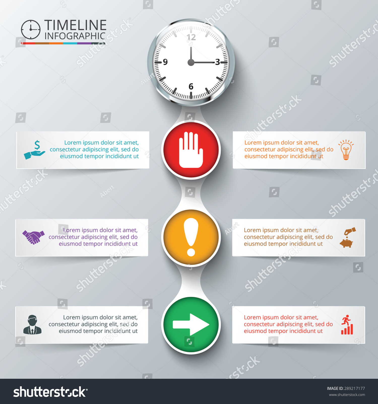 Vector Elements Watch Timeline Infographic Template Stock Vector