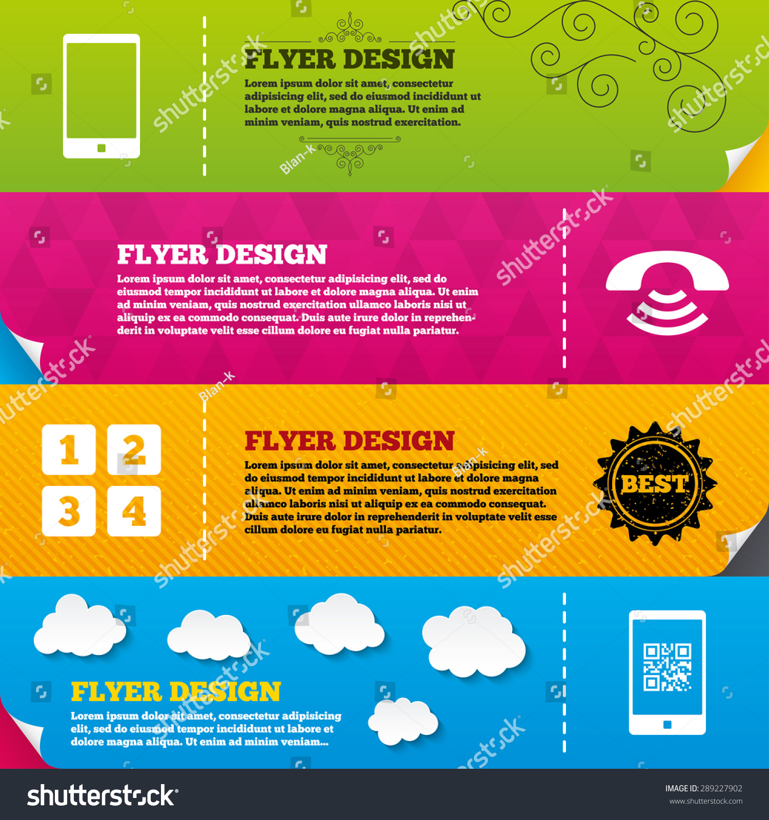 Flyer brochure designs phone icons smartphone stock vector 289227902 flyer brochure designs phone icons smartphone with qr code sign call center support biocorpaavc Images