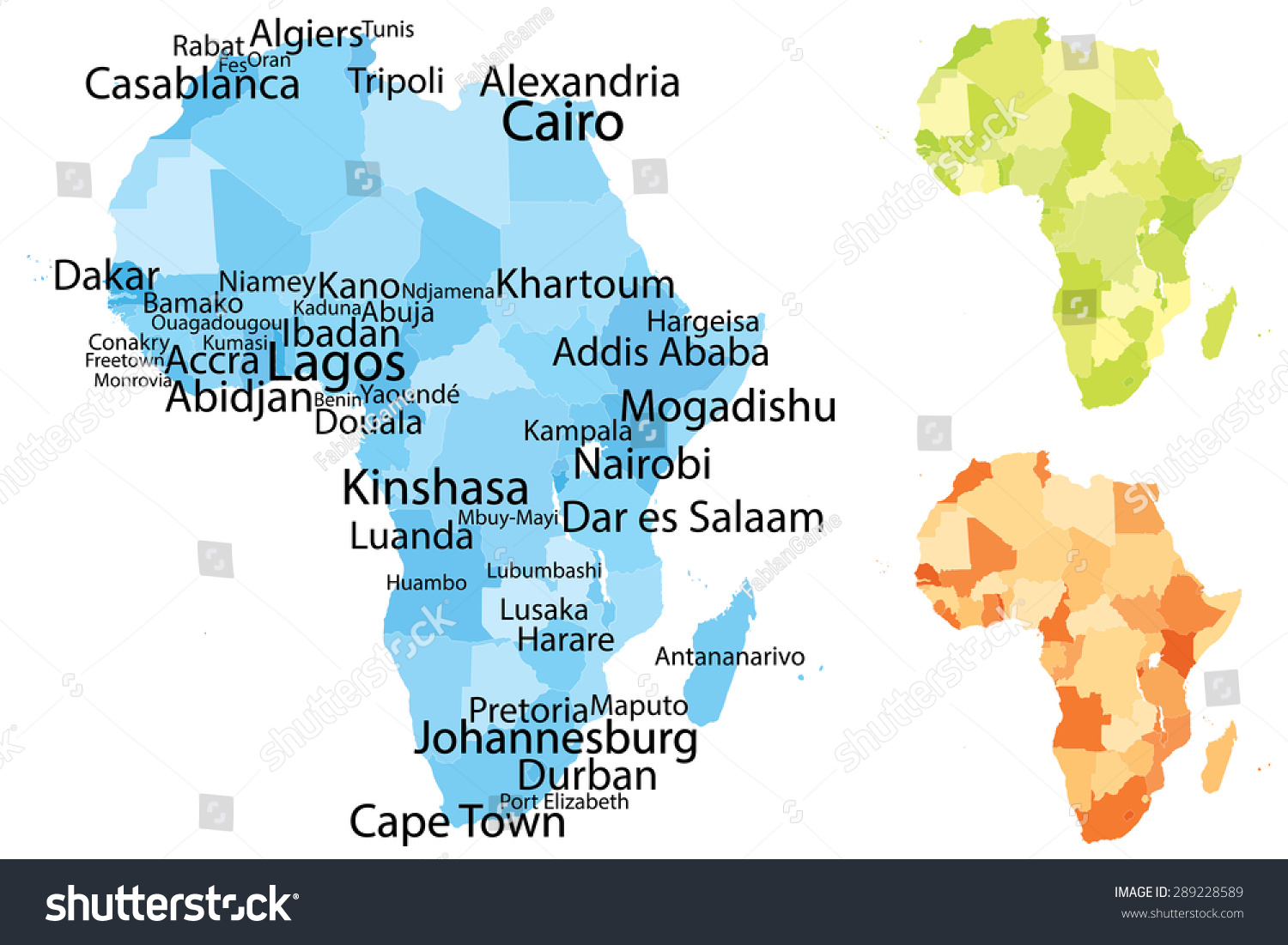 Vector Map Africa Largest Cities Carefully Stock Vector Royalty