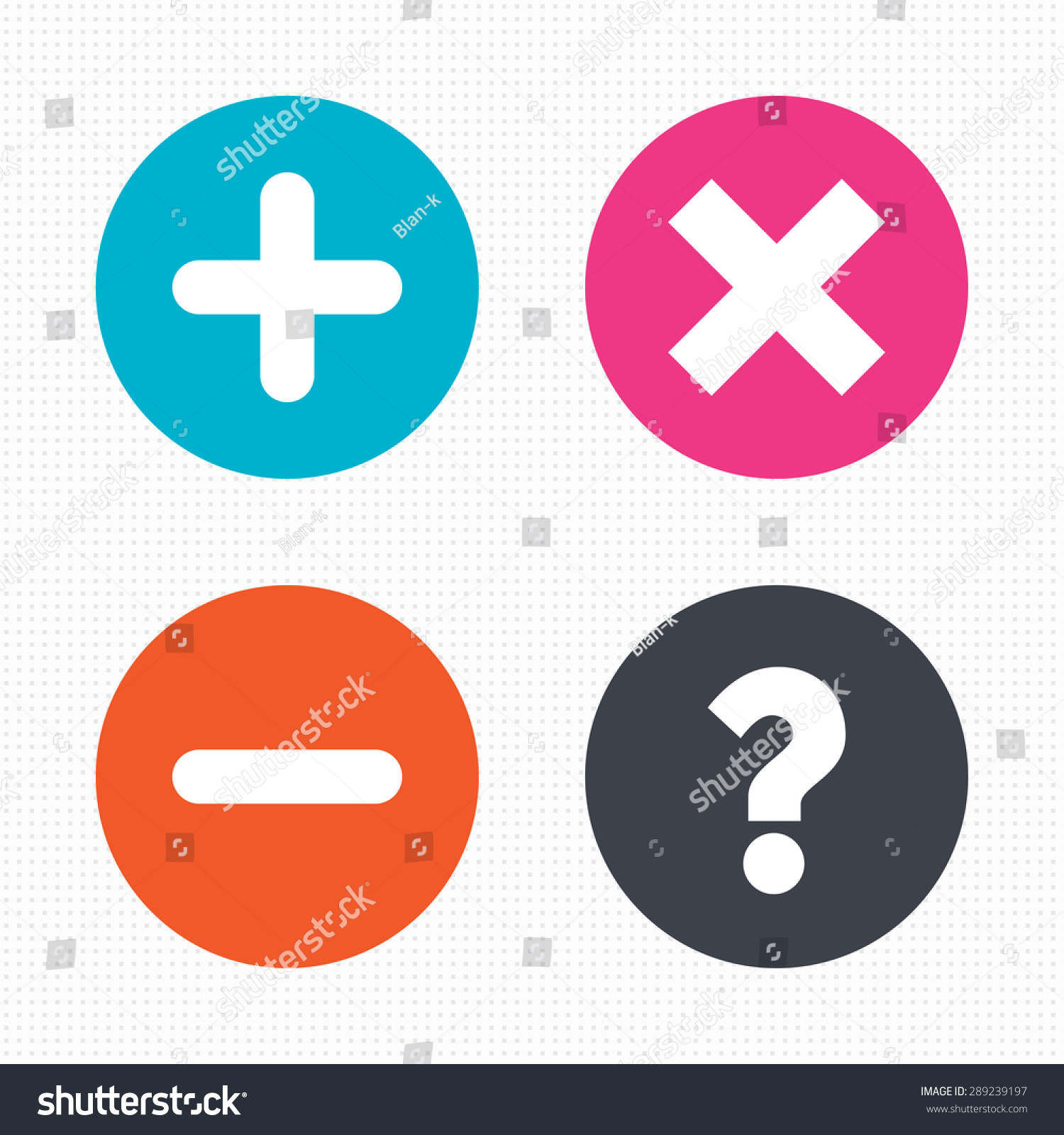 Royalty free circle buttons plus and minus icons 289239197 circle buttons plus and minus icons delete and question faq mark signs enlarge zoom symbol seamless squares texture vector stock photo buycottarizona