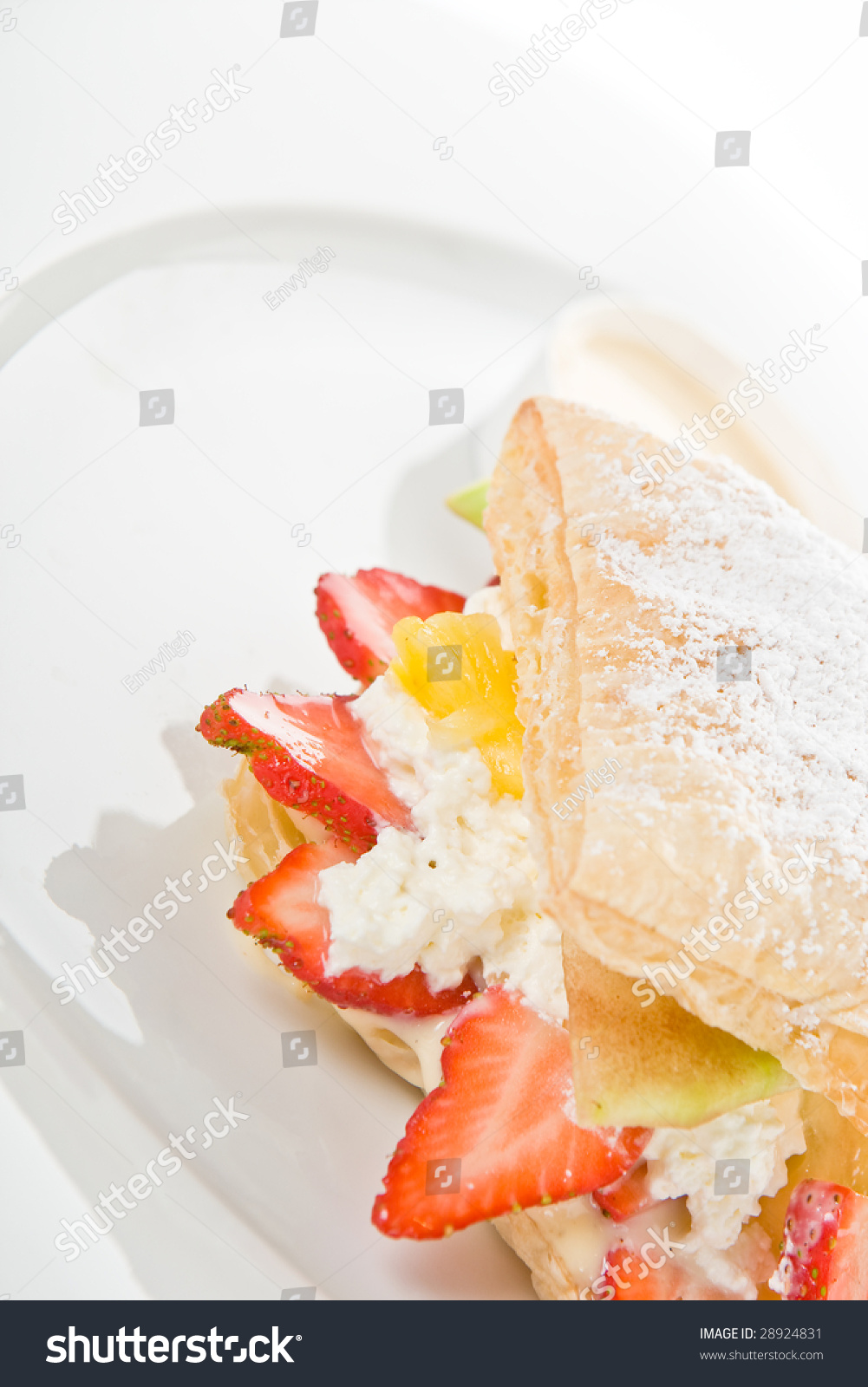 Puff pastry with fresh fruit and cream #28924831