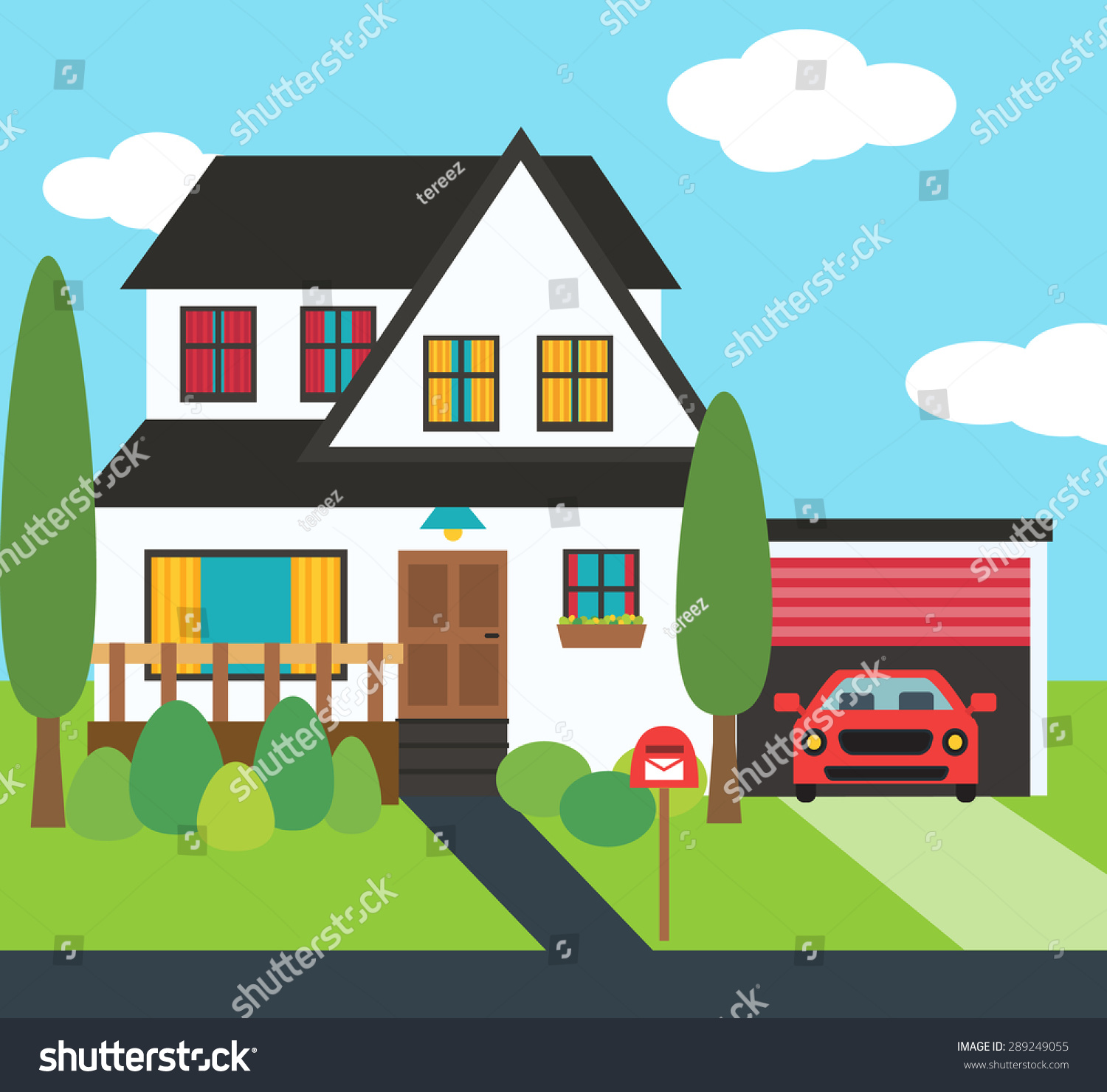Modern House Illustration Rental Sale Concept Stock Illustration