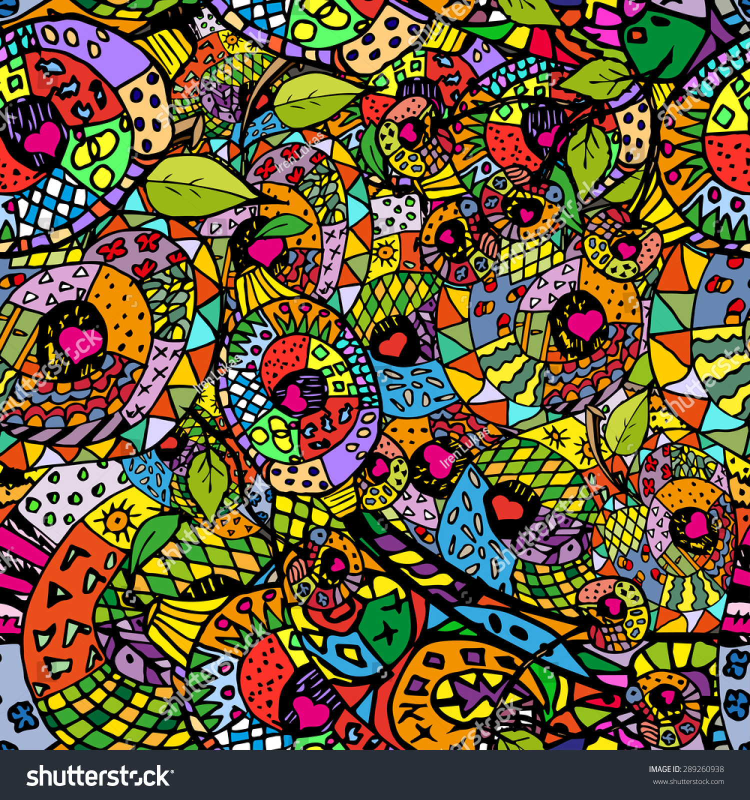 zentangle colorful seamless pattern with warm colors pattern can be used for fabric wallpaper