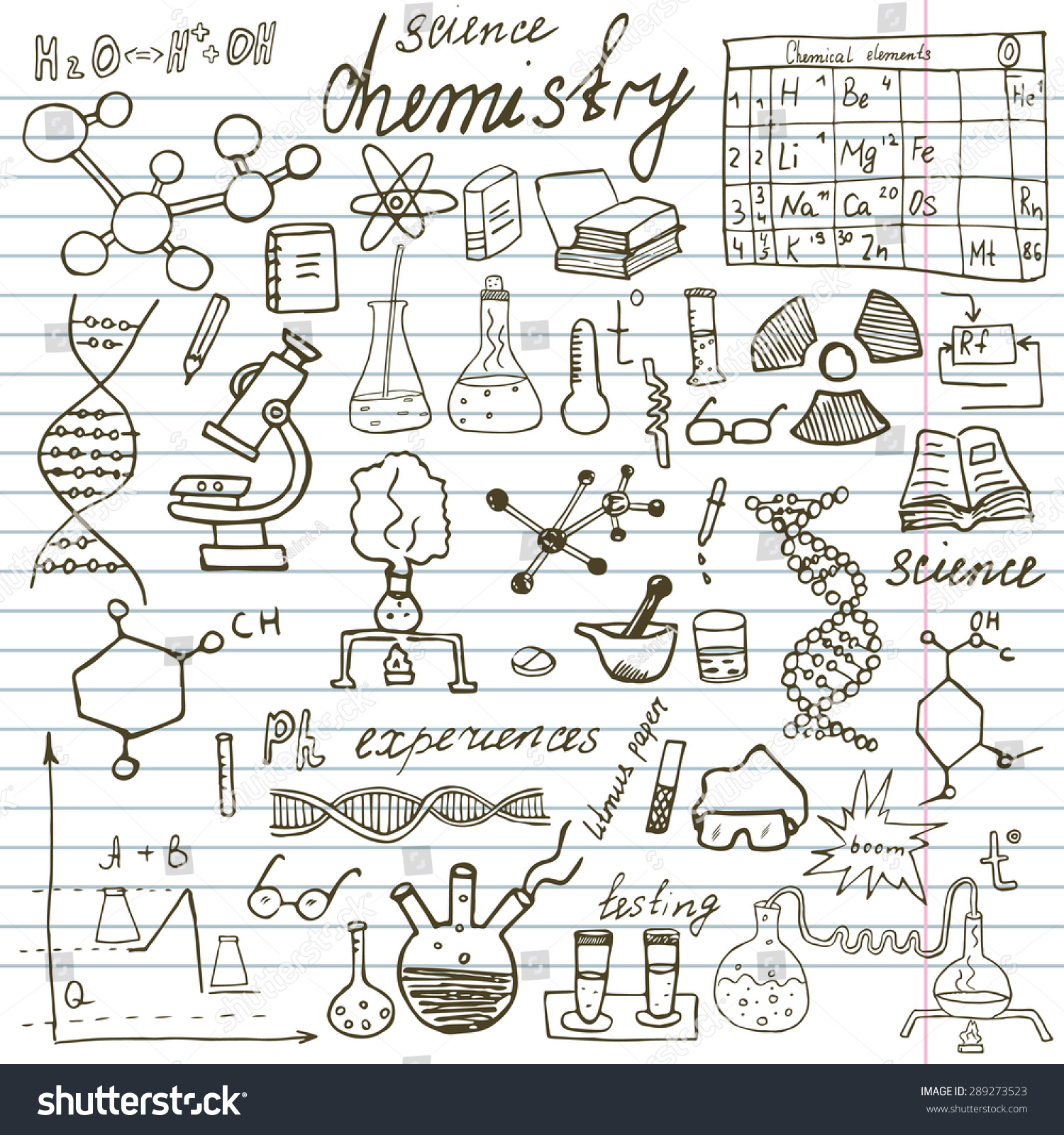 chemistry science elements doodles icons set stock vector chemistry and science elements doodles icons set hand drawn sketch microscope formulas