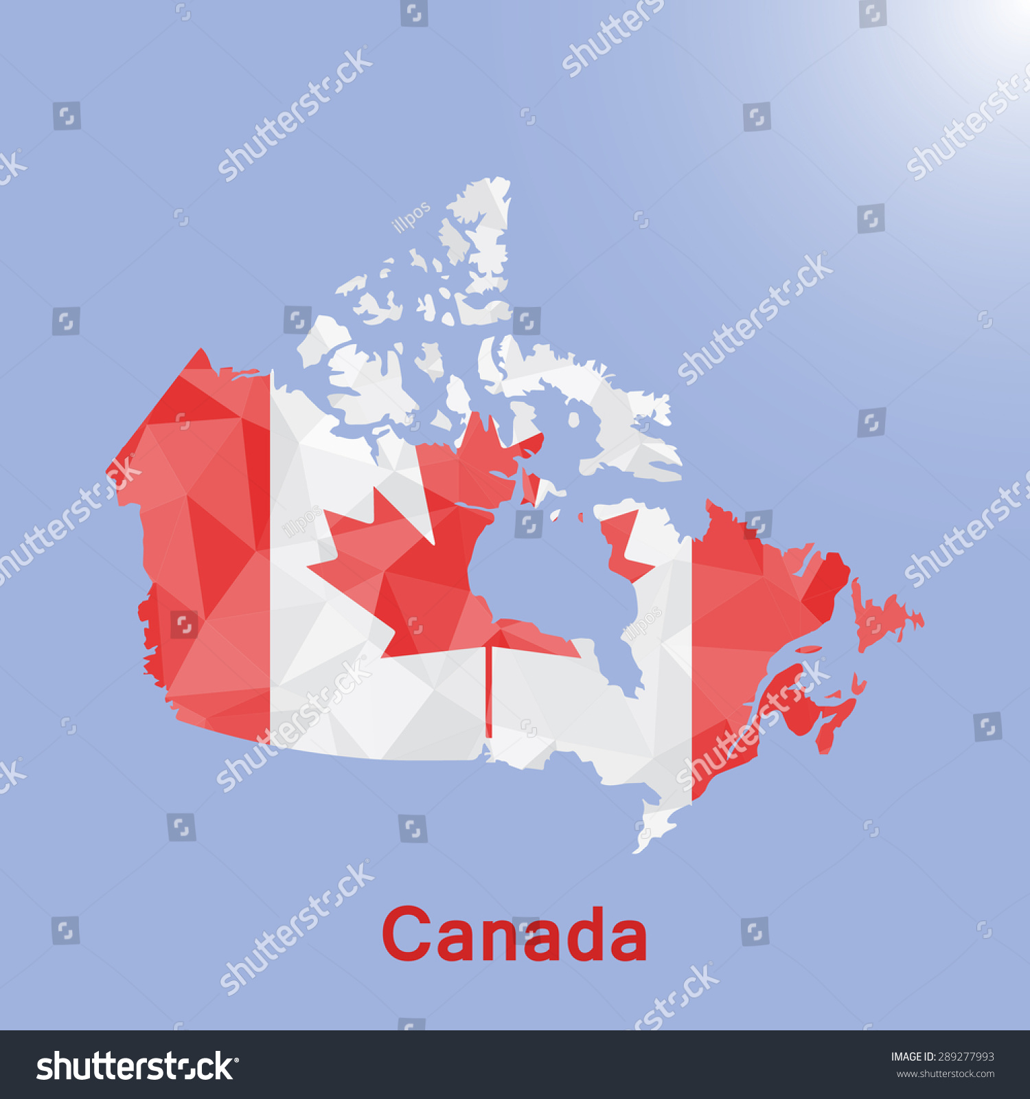Canada Flag Map Geometric Polygonal Styleabstract Stock