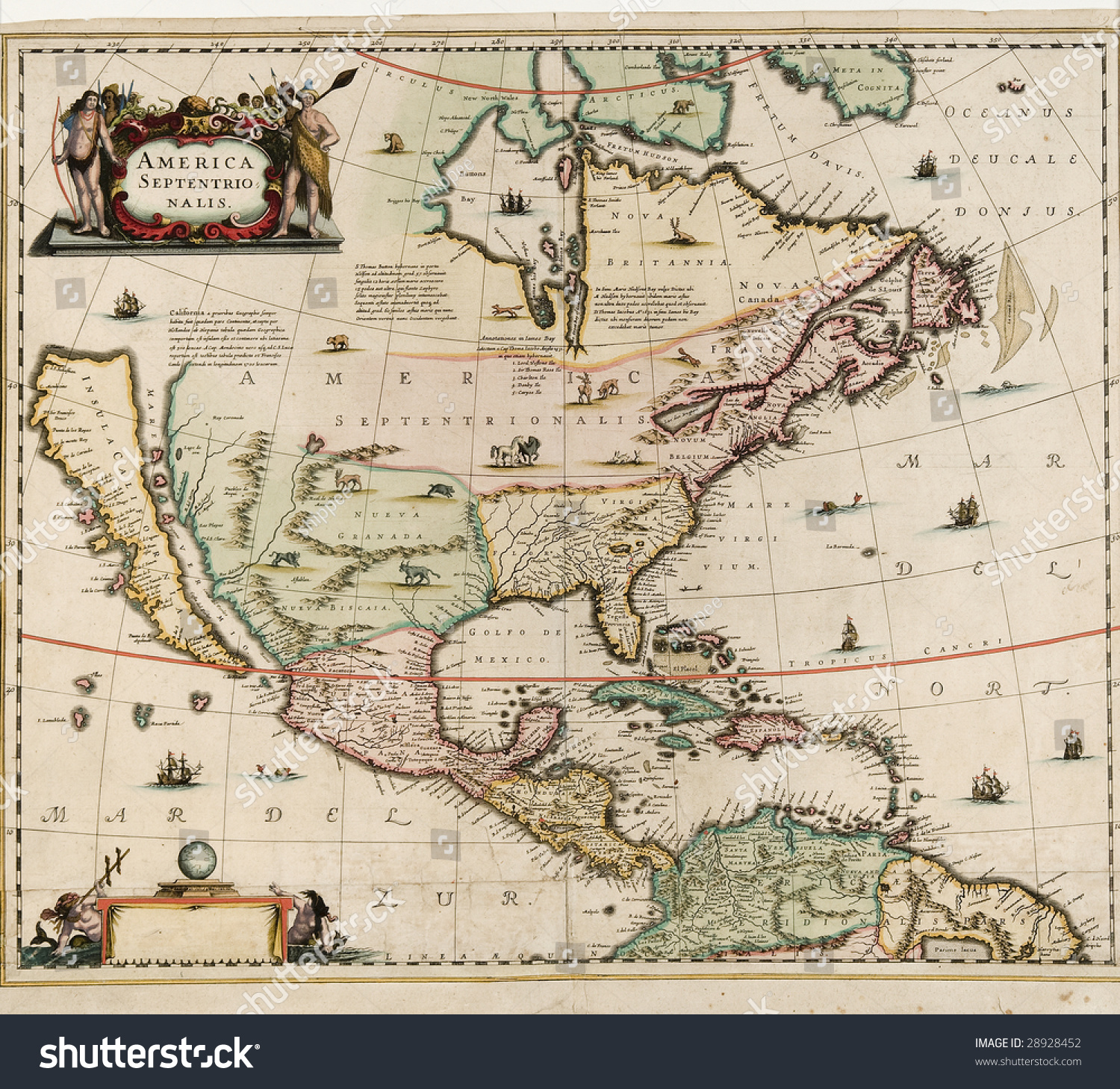 Old world map america septentrio nalis stock photo royalty free old world map america septentrio nalis probably dates around early 1600s showing north america gumiabroncs Images