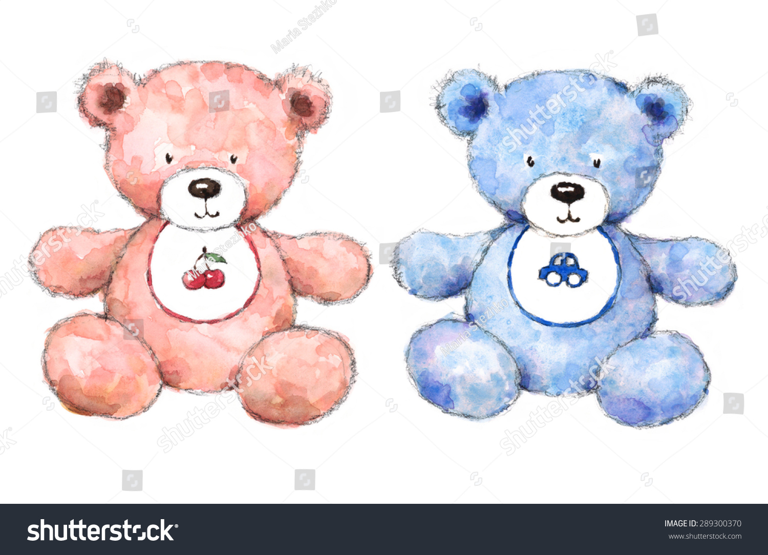 Watercolor Baby Teddy Bears Set Pastel Blue And Pink Boy ...
