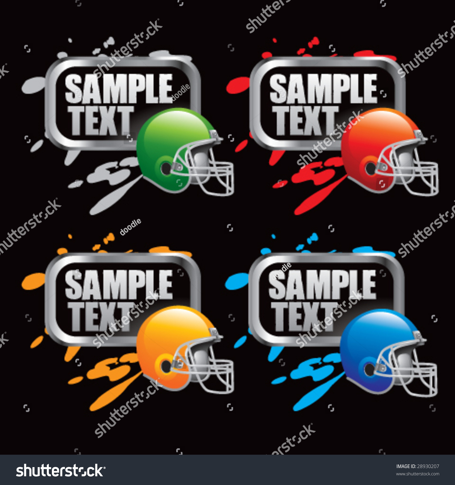 colored spray painted football helmets stock vector illustration. Black Bedroom Furniture Sets. Home Design Ideas