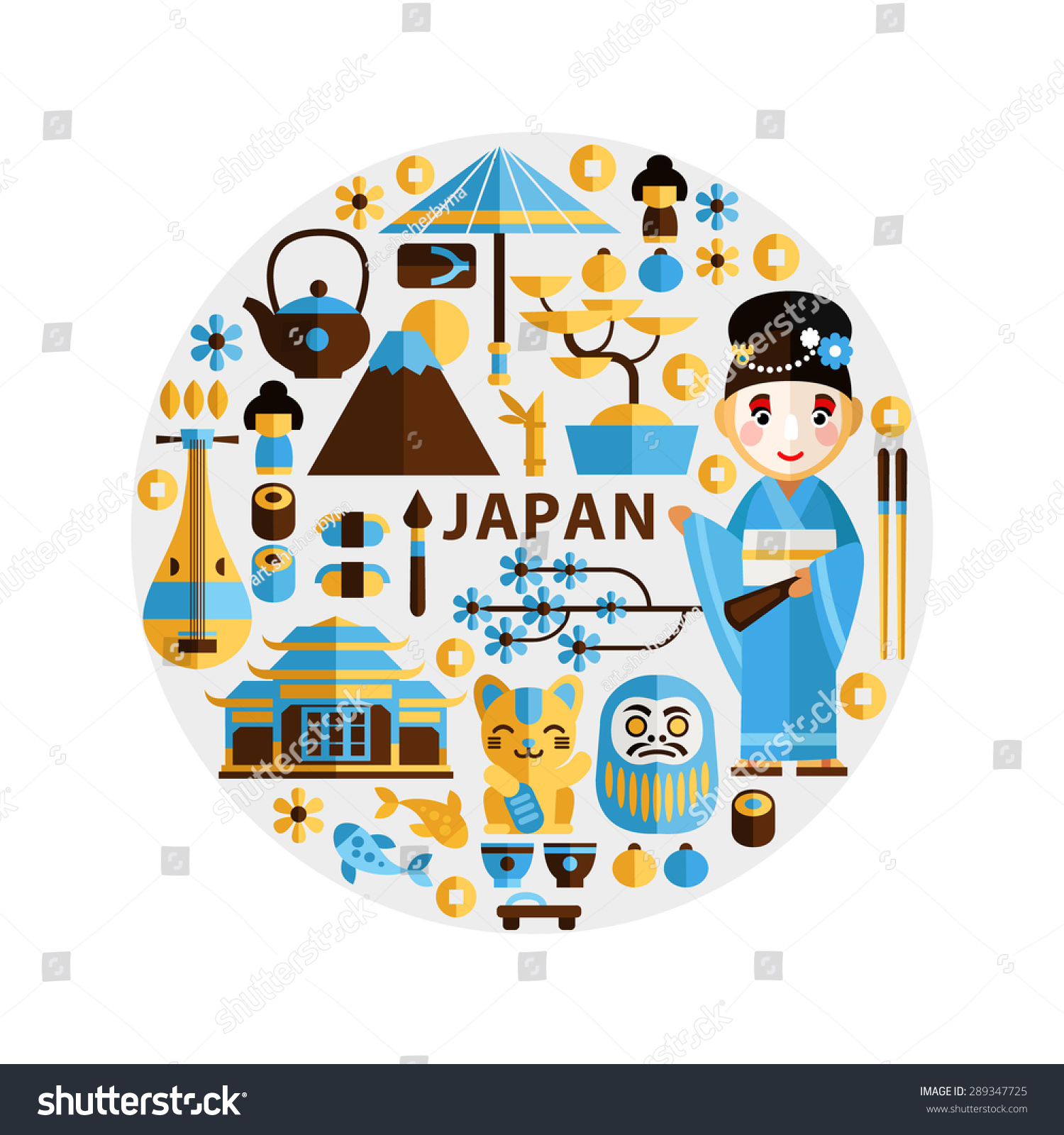 Set traditional japanese symbols characters flat stock vector set of traditional japanese symbols and characters in a flat style asian vector graphic elements biocorpaavc