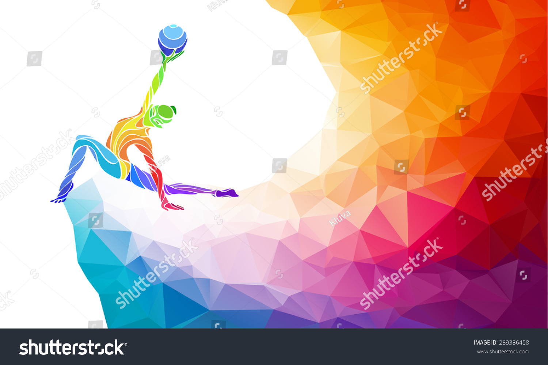 Creative Silhouette Of Gymnastic Girl. Art Gymnastics With