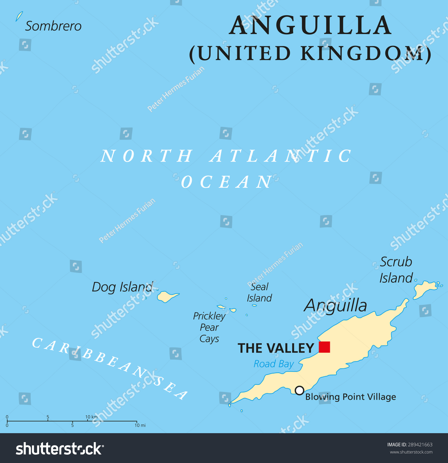 Anguilla Political Map Capital Valley British Stock Vector
