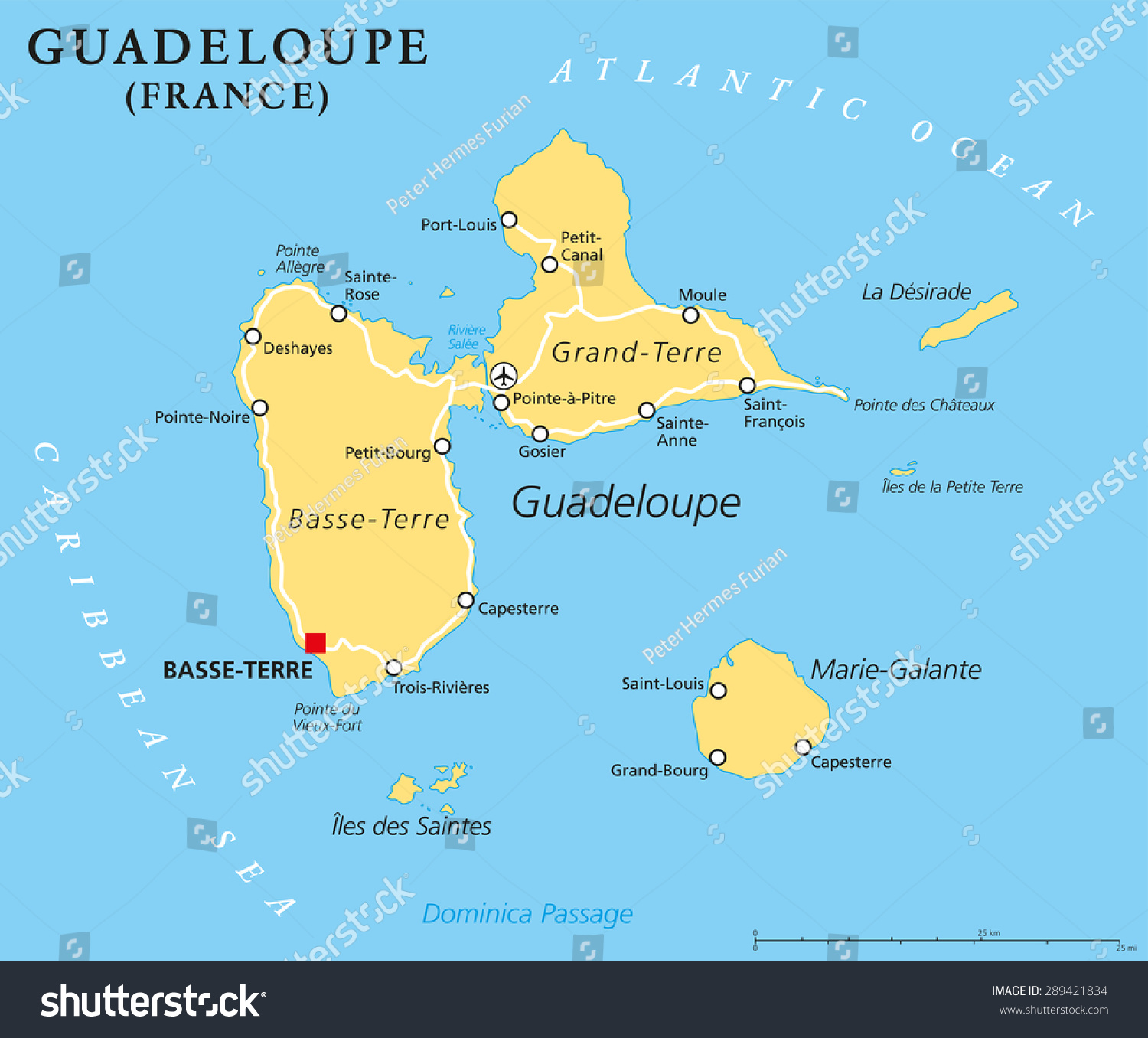 guadeloupe political map with capital basseterre an overseas region offrance located. guadeloupe political map capital basseterre overseas stock vector