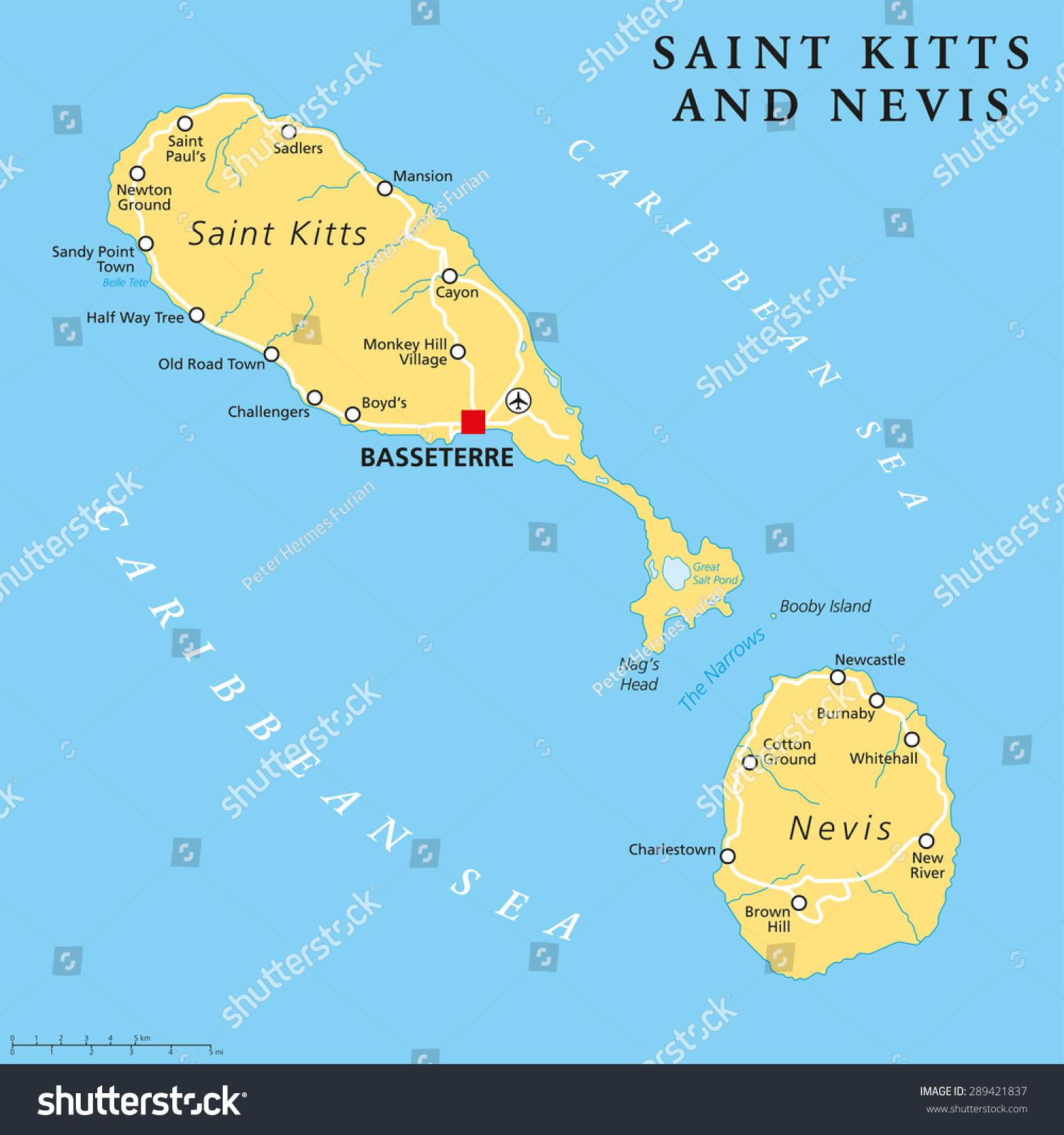 Saint Kitts Nevis Political Map Capital Stock Vector - Saint kitts and nevis map