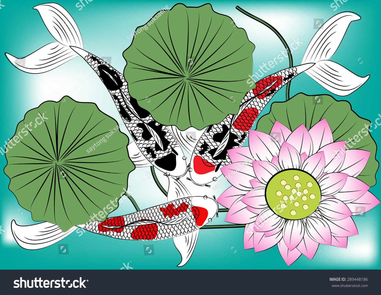 Vector Koi Fish Lotus Flowercolorful Koi Stock Vector (Royalty Free ...