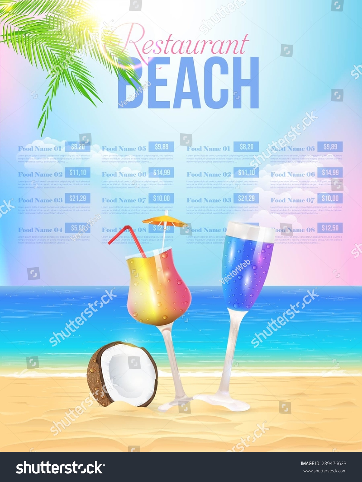 Vector De Stock Libre De Regalias Sobre Summer Theme Beach Restaurant Menu Vector289476623