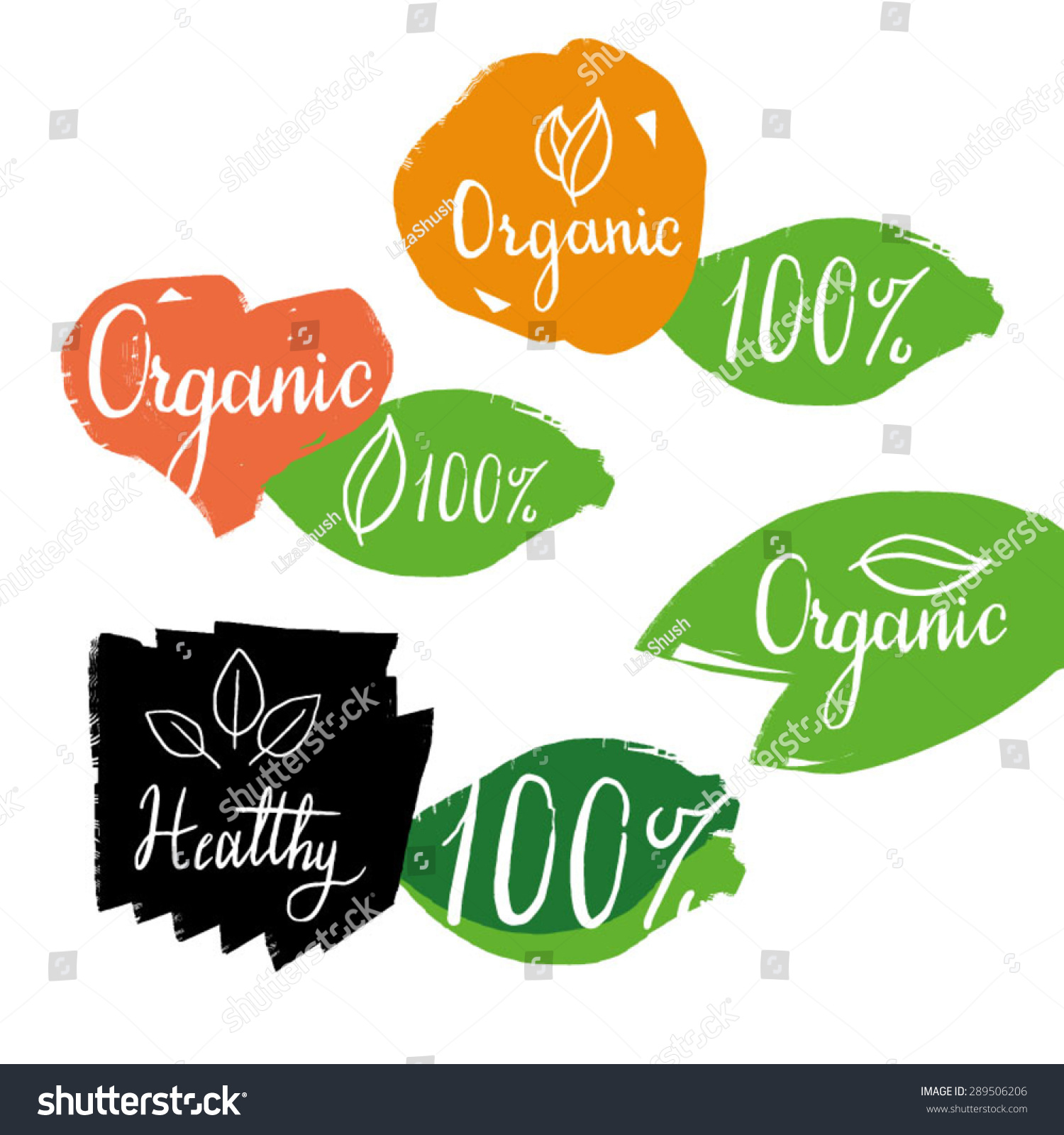 Organic Healthy Labels Calligraphy Logos On Stock Vector