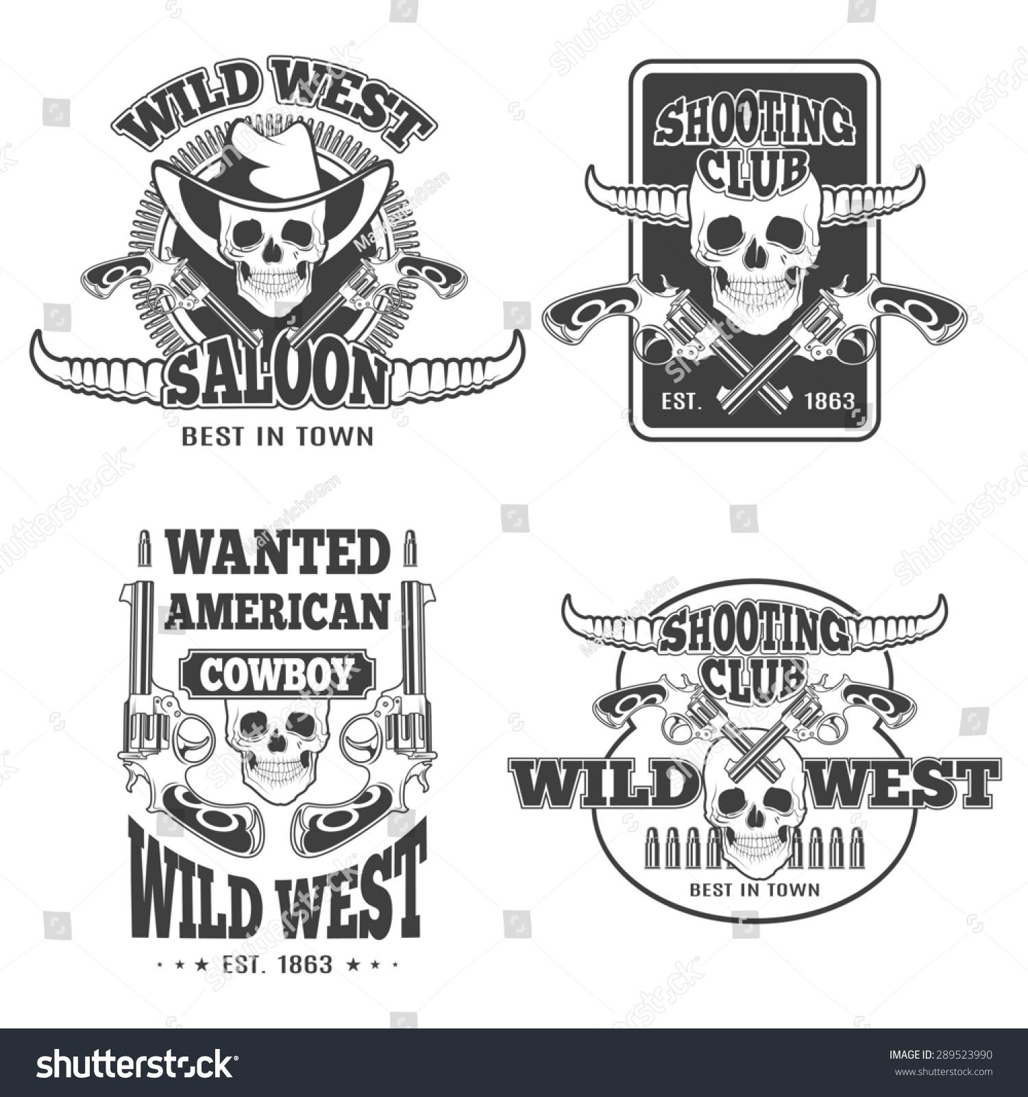 Set Vintage Cowboy Emblems Labels Badges Stock