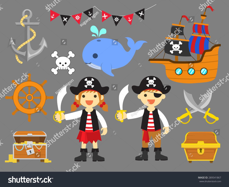 Ahoy Matey Summer Fun Pirate Children Clip Art Vector - 289541867 ...