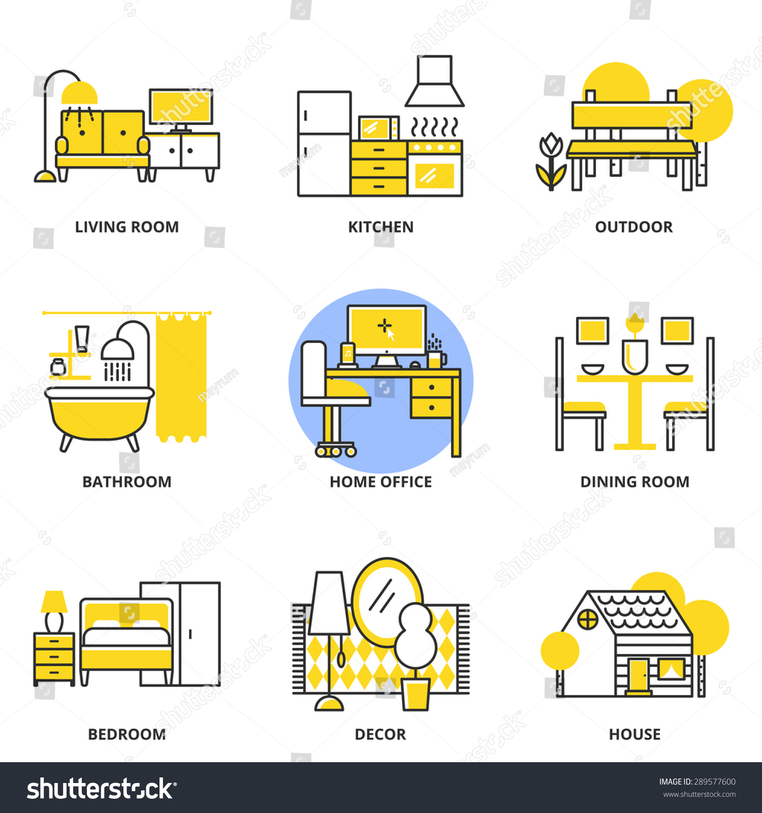Furniture Vector Icons Set Living Room Stock Vector 289577600 Shutterstock