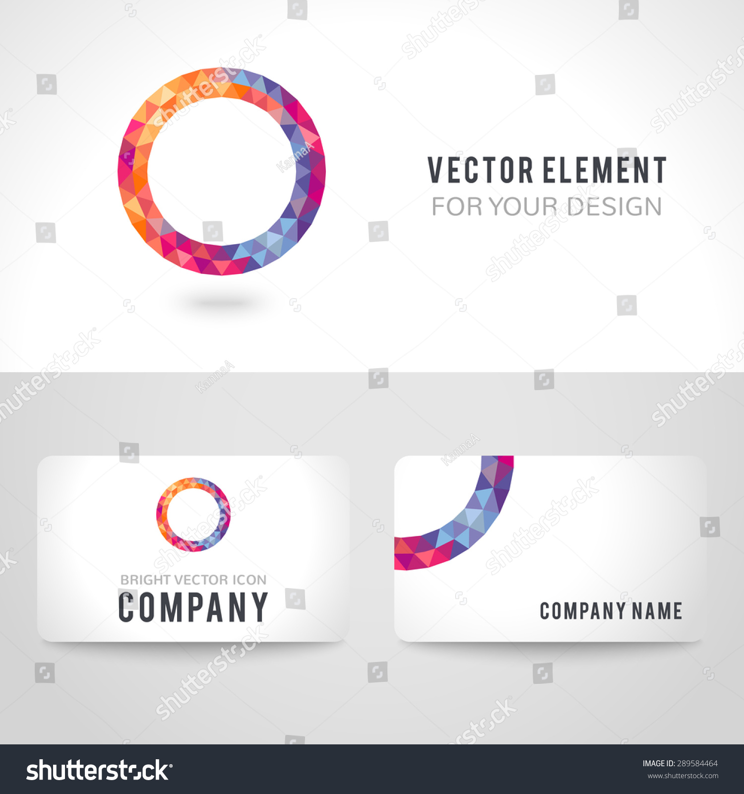 Business card template set bright picture stock vector 289584464 business card template set bright picture round frame in modern polygonal crystal style on white magicingreecefo Gallery