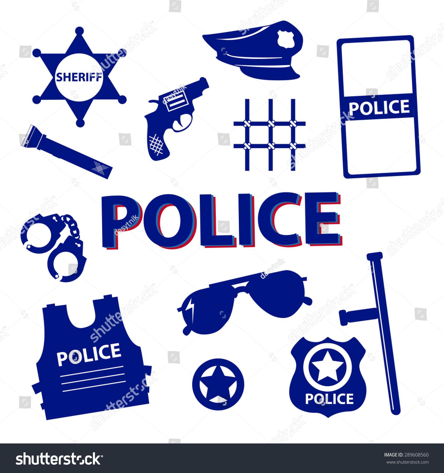 Vector Set Design Silhouette Police Symbols Stock Vector Royalty