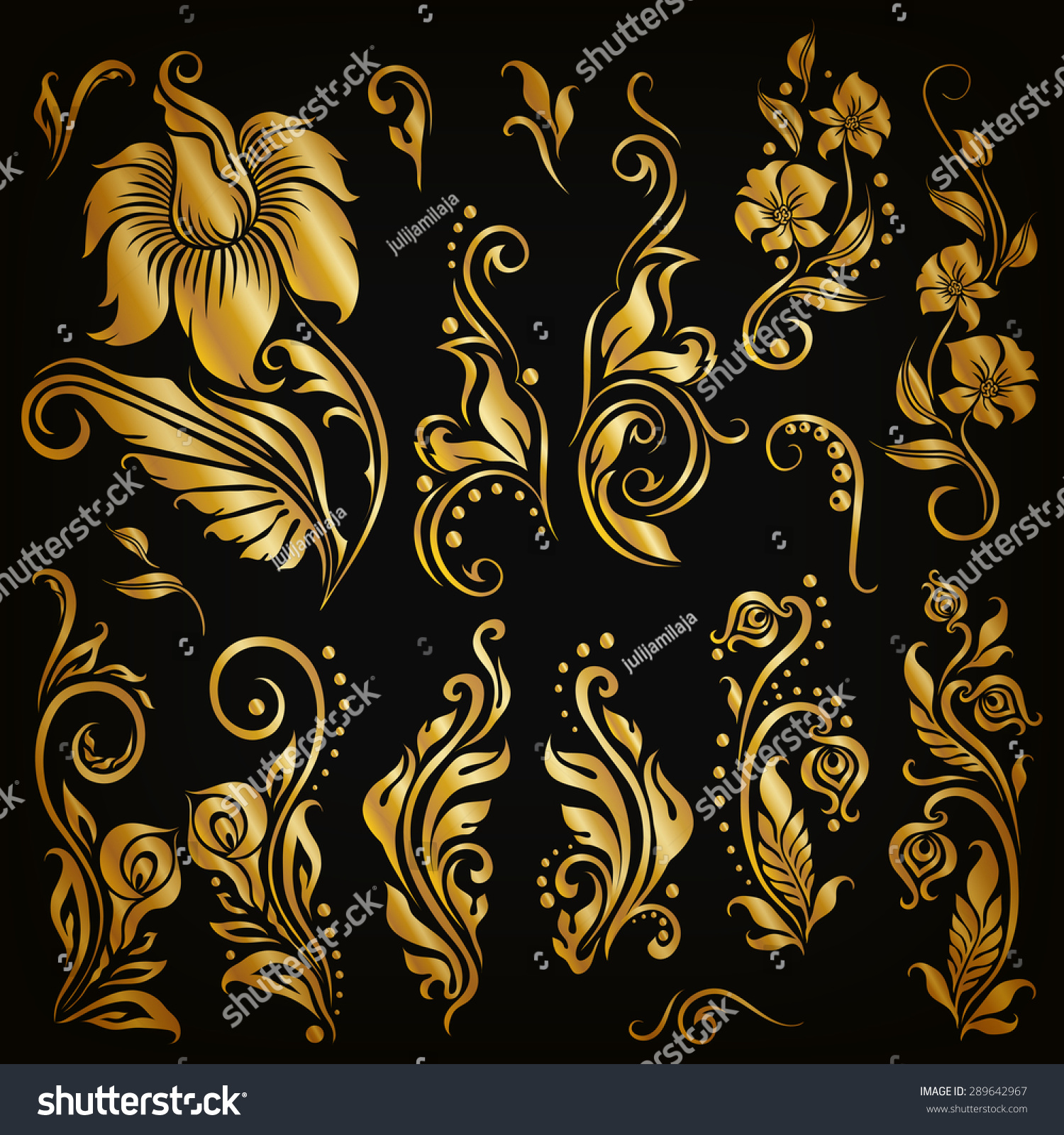 Decorative Black Flower Border Stock Image: Set Of Decorative Hand-Drawn Calligraphic Elements, Gold