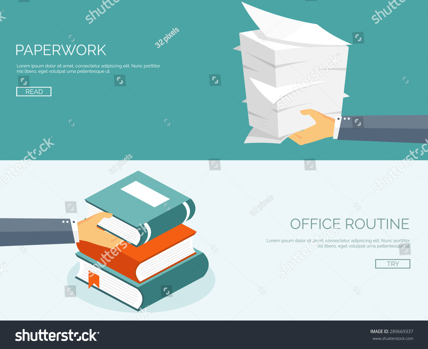 Paperwork Flat Background Paper Office Emailing Stock Vector ...