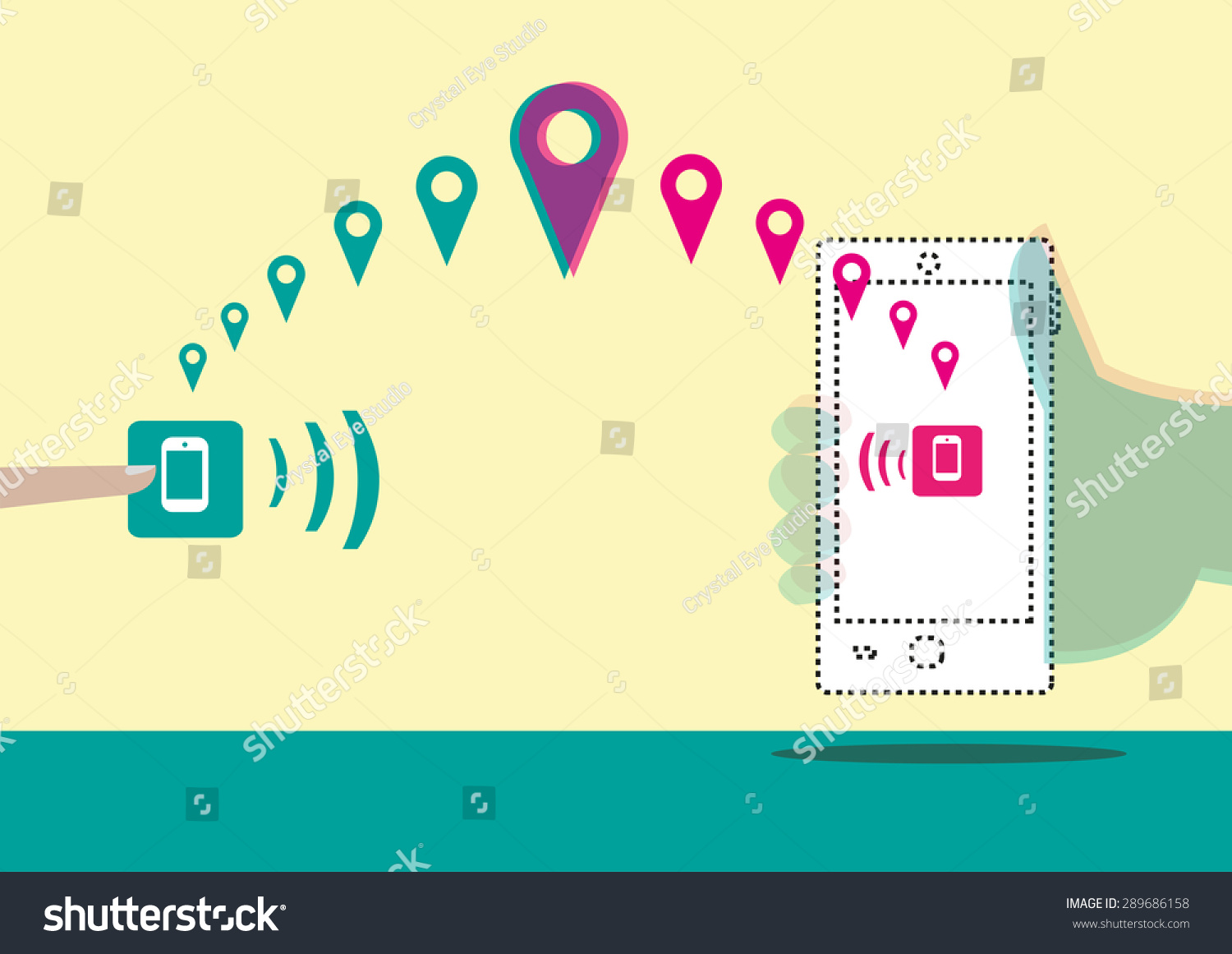 Using Tracking App Find Lost Stolen Stock Vector (Royalty