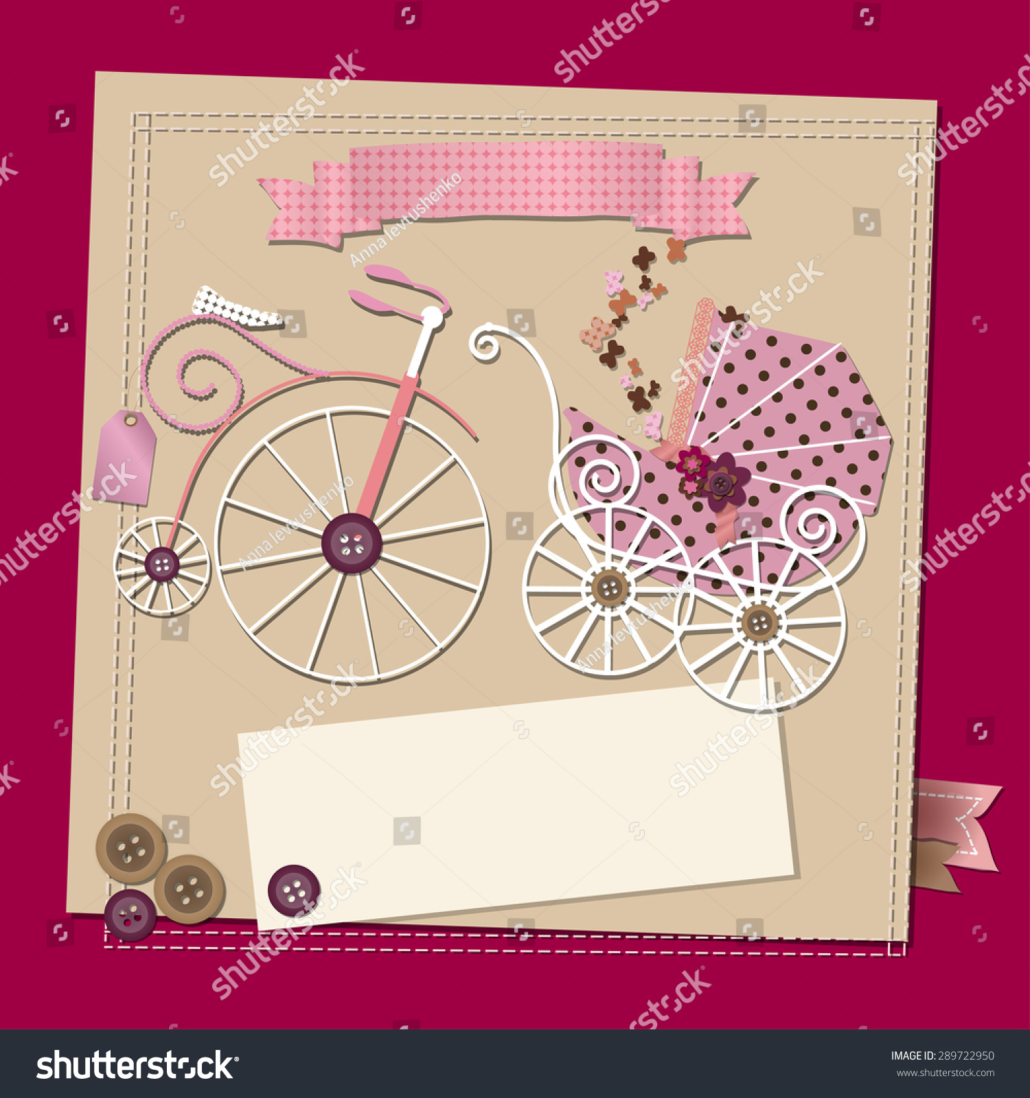 Raster baby girl shower invitation template stock illustration raster baby girl shower invitation template illustration with a vintage stroller and a bicycle filmwisefo
