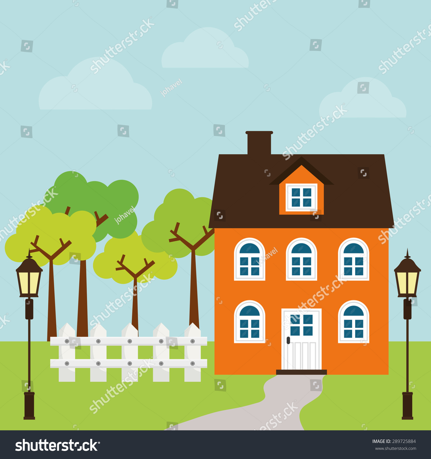 House design cartoon - House Design Over Landscape Background Vector Illustration