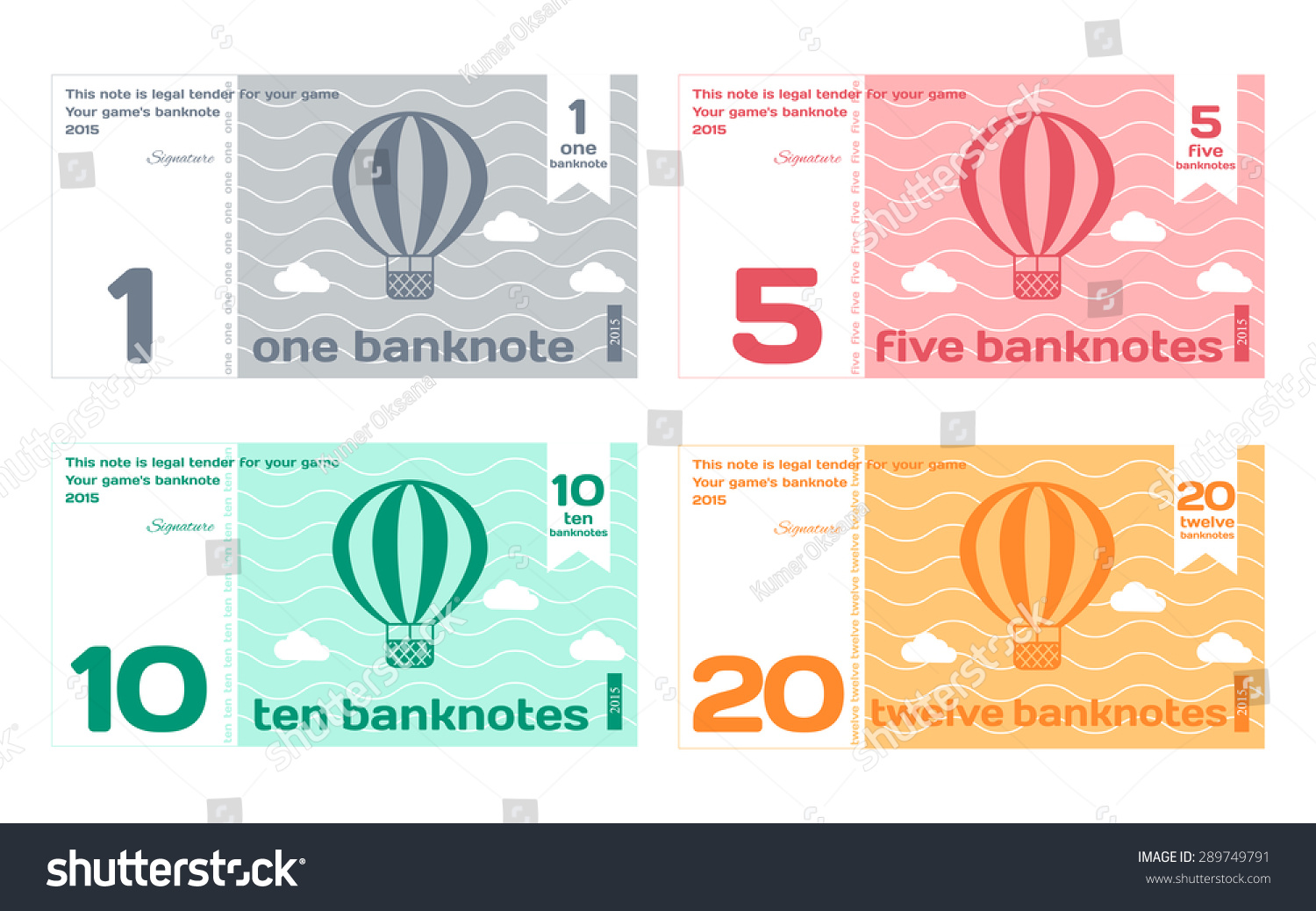 Vector abstract cute color banknote templates stock vector vector abstract cute color banknote templates set 1 in flat style isolated on white background pronofoot35fo Choice Image