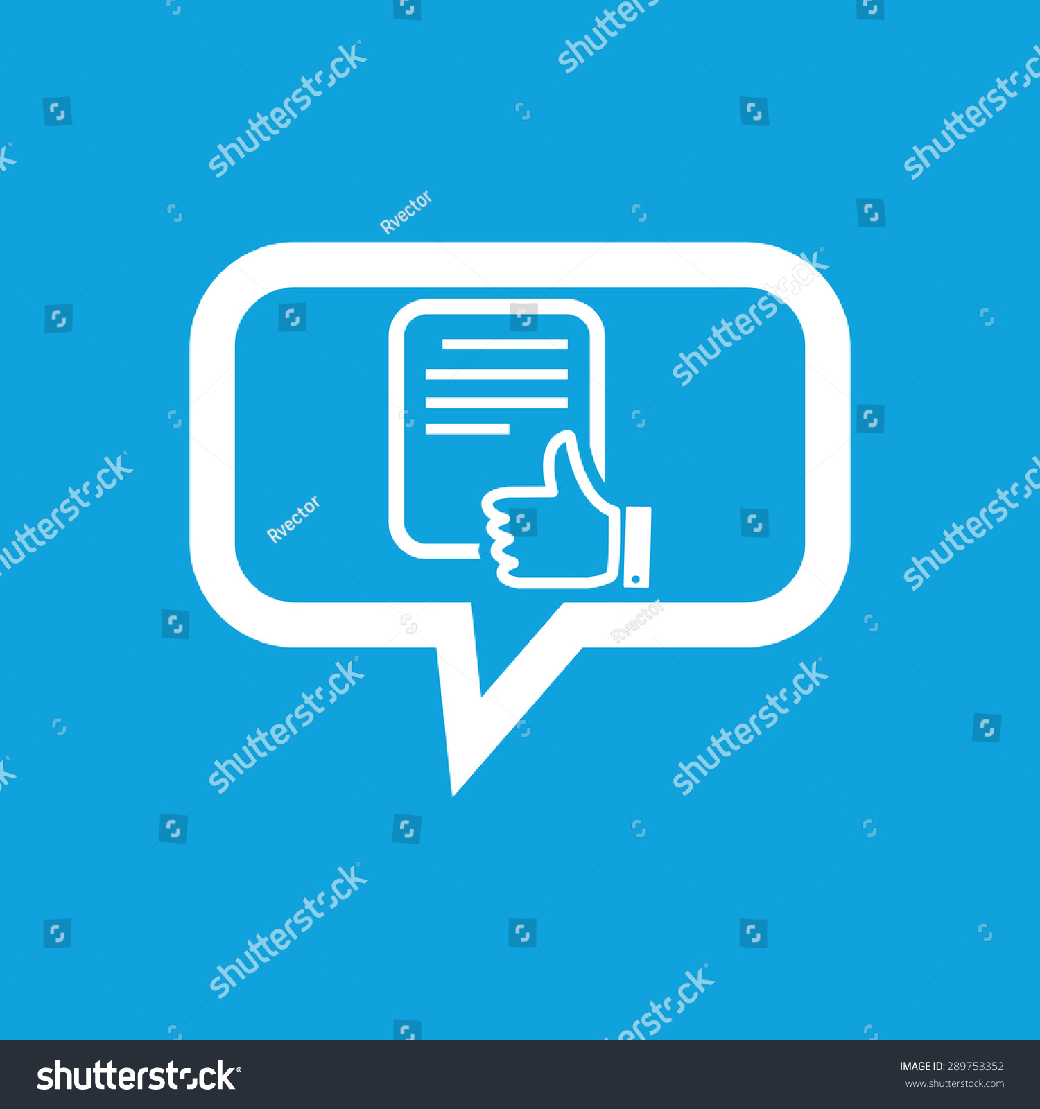Image document page like symbol chat stock vector 289753352 image of document page with like symbol in chat bubble isolated on blue buycottarizona Choice Image