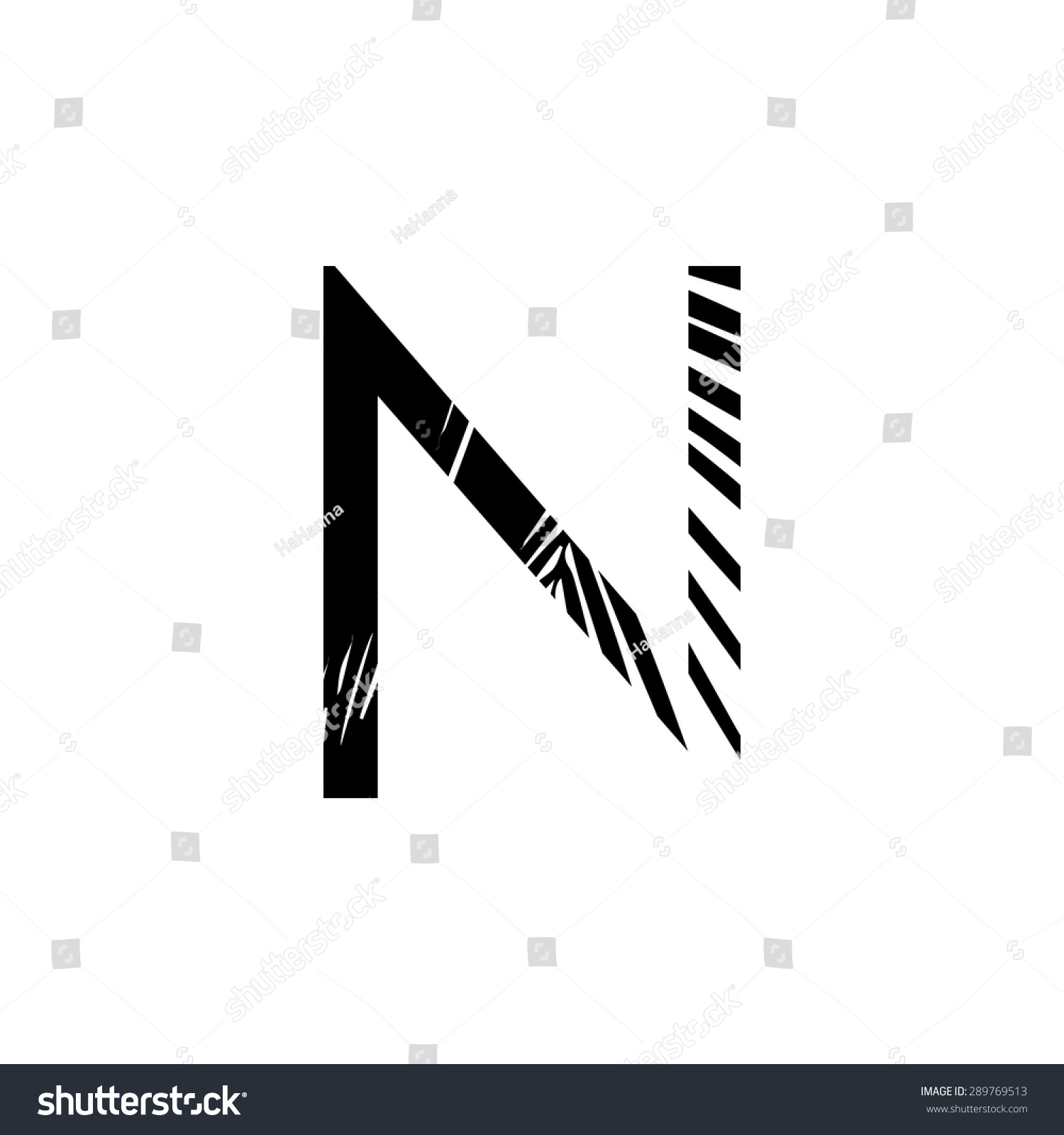 Letter N Double Exposure Black Palm Stock Vector Royalty Free