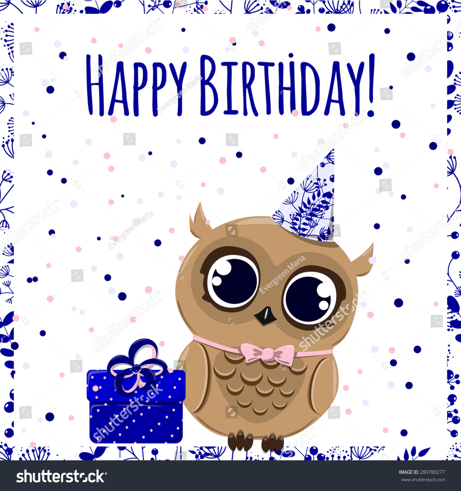 Cute Happy Birthday Card Owl Hat Stock Vector Shutterstock