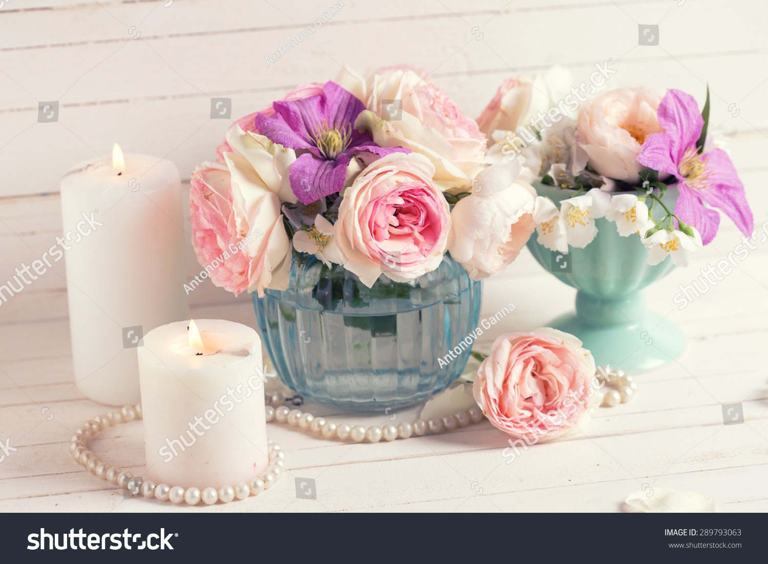 Royalty Free Pink Roses White Jasmine And Violet 289793063 Stock