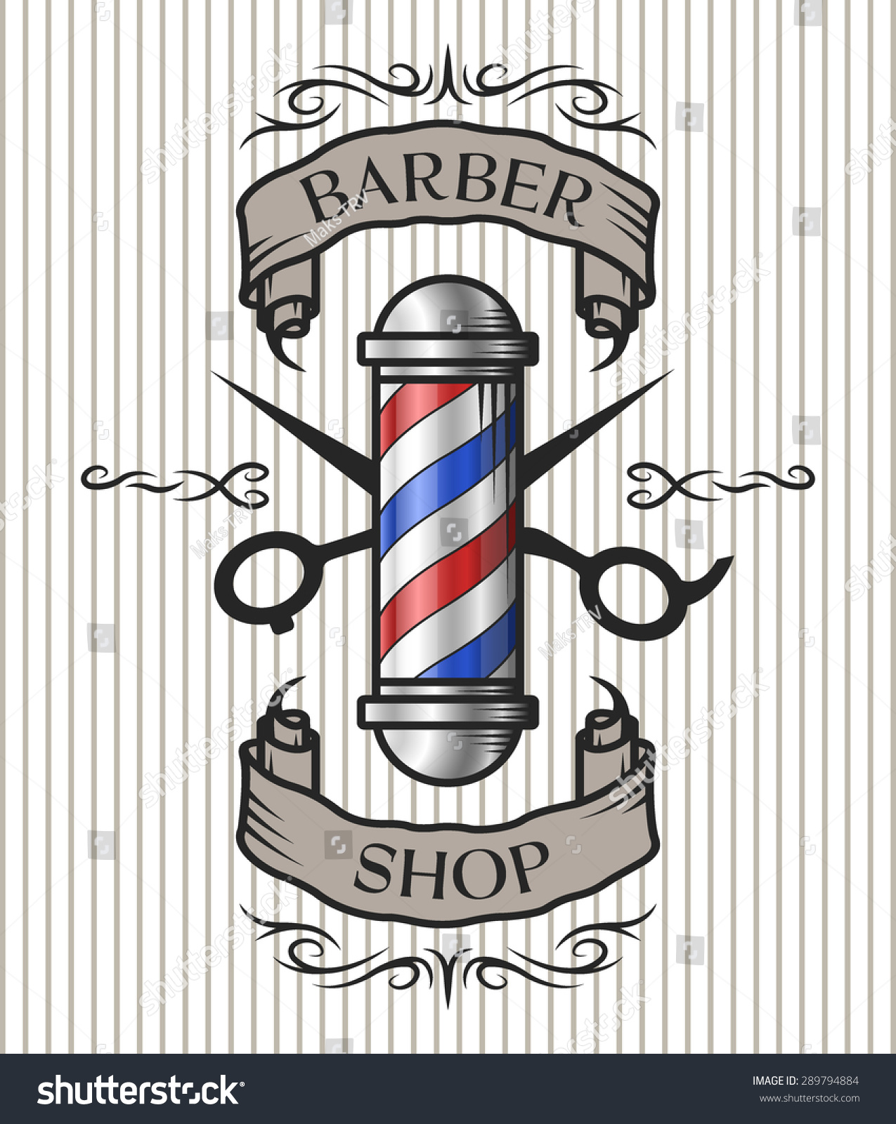 Barber Vector : Barber pole,scissors and ribbon for text in an old vintage style ...