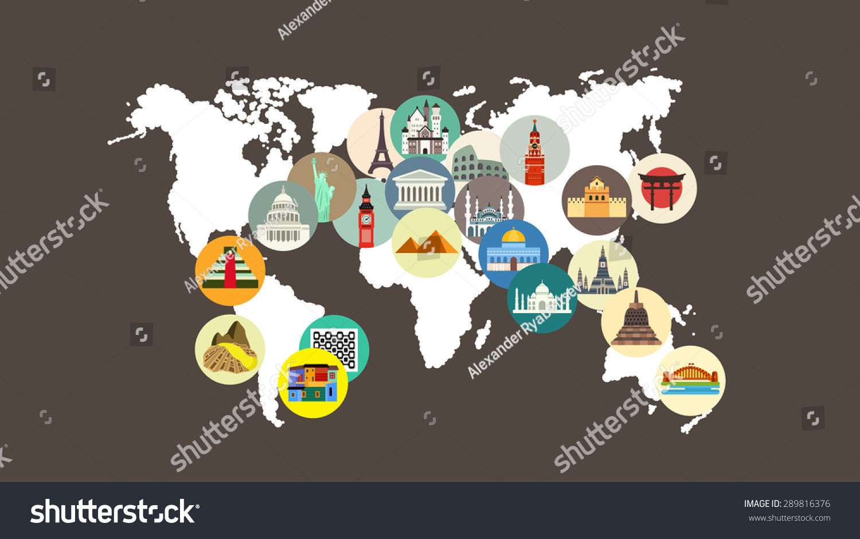 Travel landmarks on world map stock vector 289816376 shutterstock travel landmarks on the world map gumiabroncs Choice Image