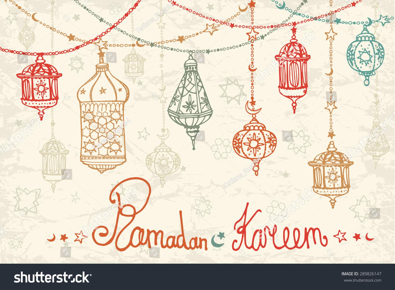 Traditional Lantern Garland Of Ramadan Kareem Doodle Greeting Card Holy Month Muslim Community Hand Drawing Hanging Arabic Lamp Star And Moon On Blue