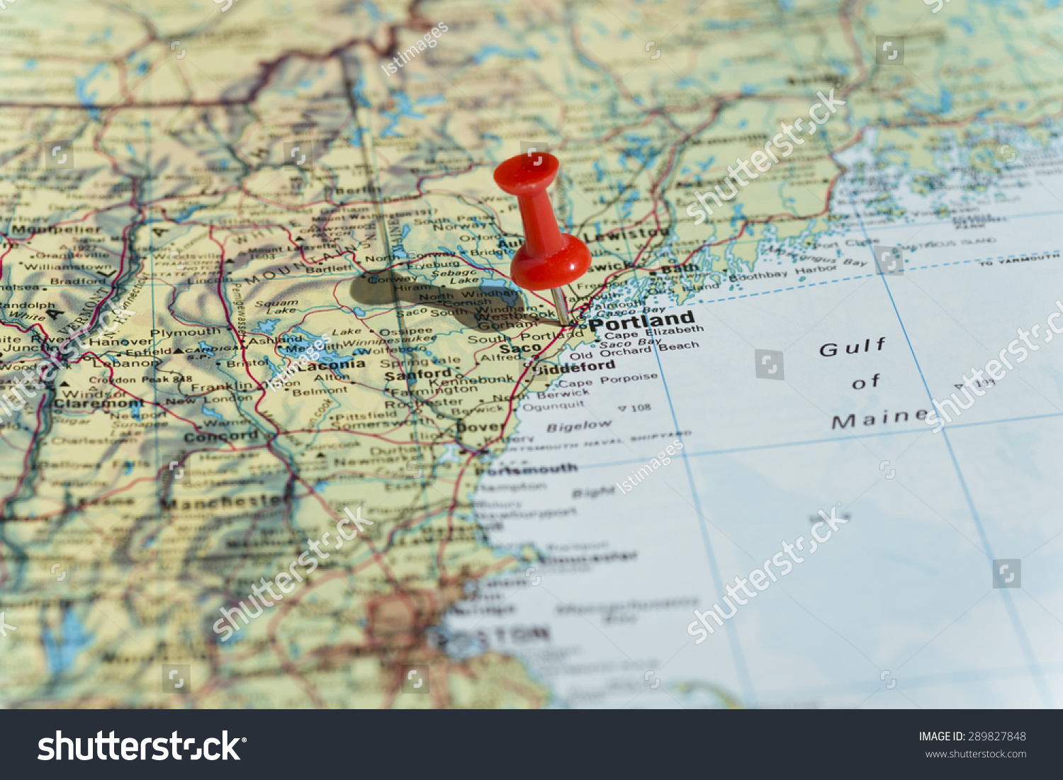Portland Marked On Map Red Pushpin Stock Photo (Edit Now